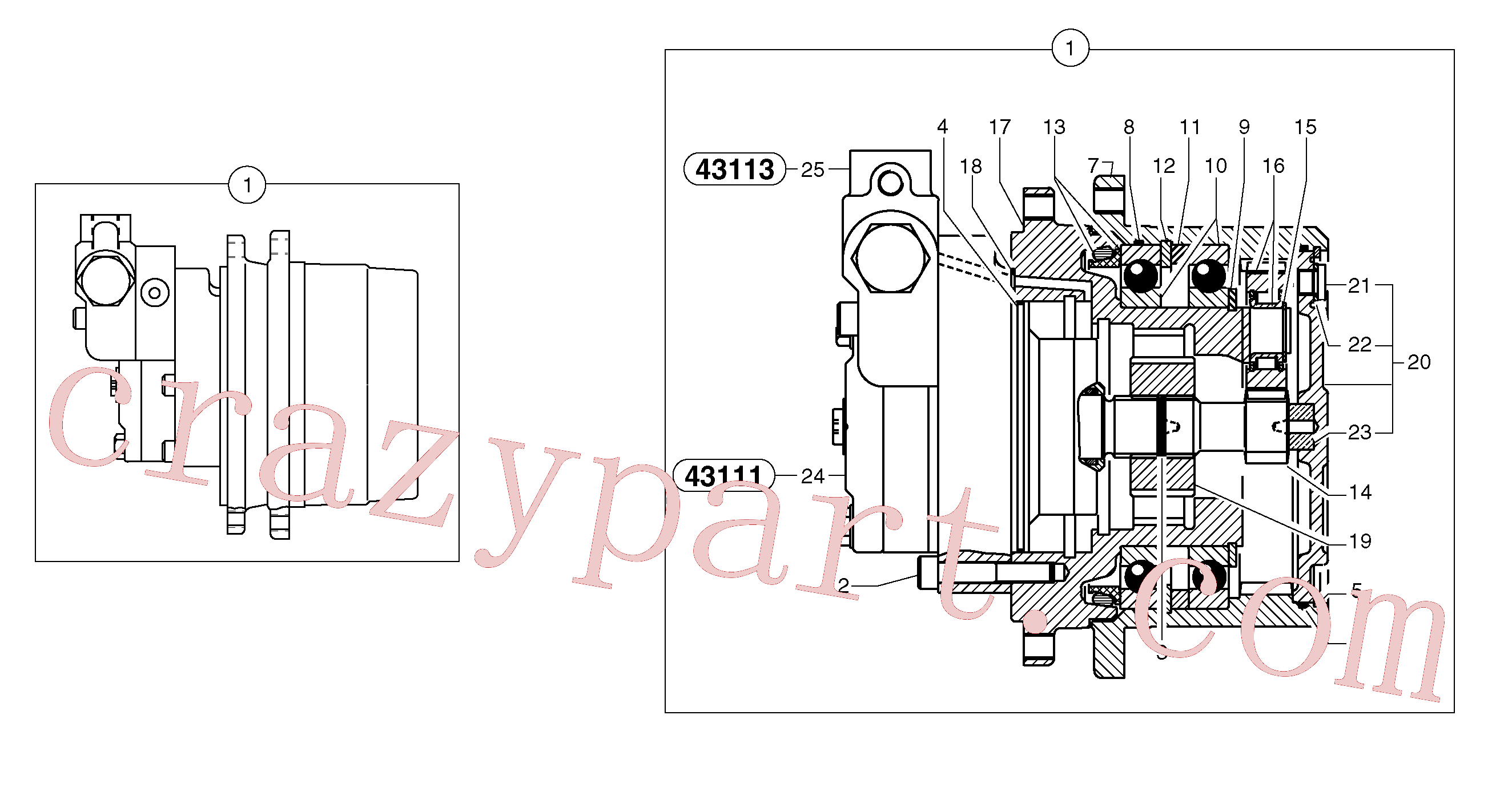 PJ7415971 for Volvo Travelling gear motor assy / without brake(4311X1 assembly)