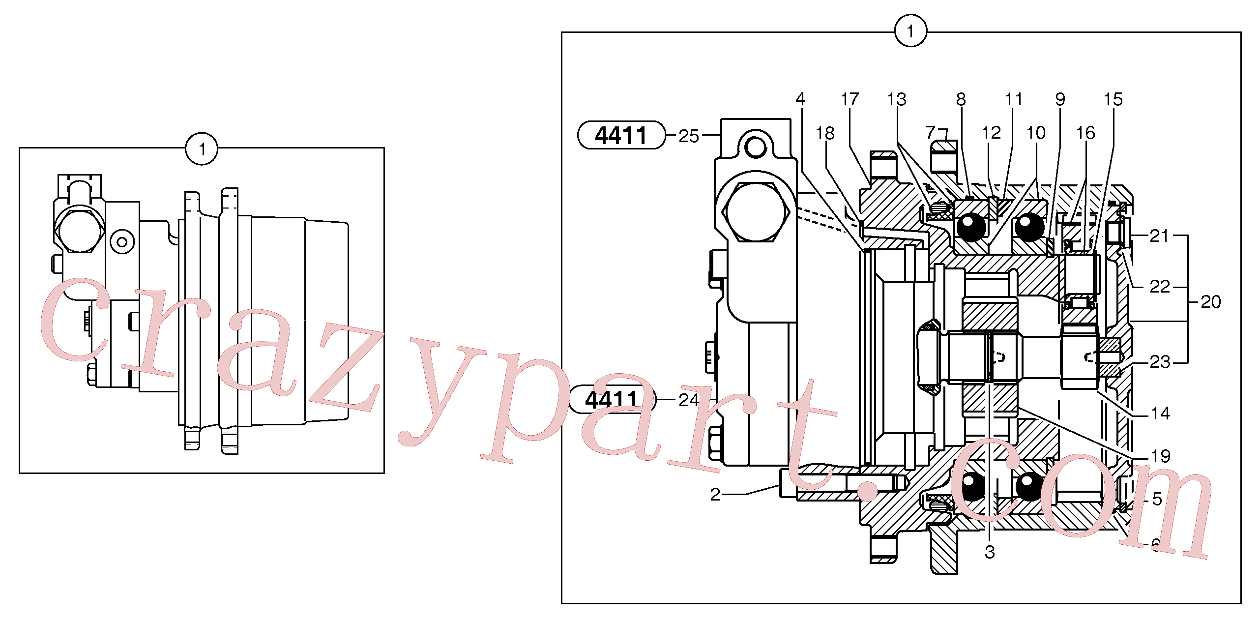 PJ7415971 for Volvo Travelling gear motor assy / without brake(4411Z3 assembly)