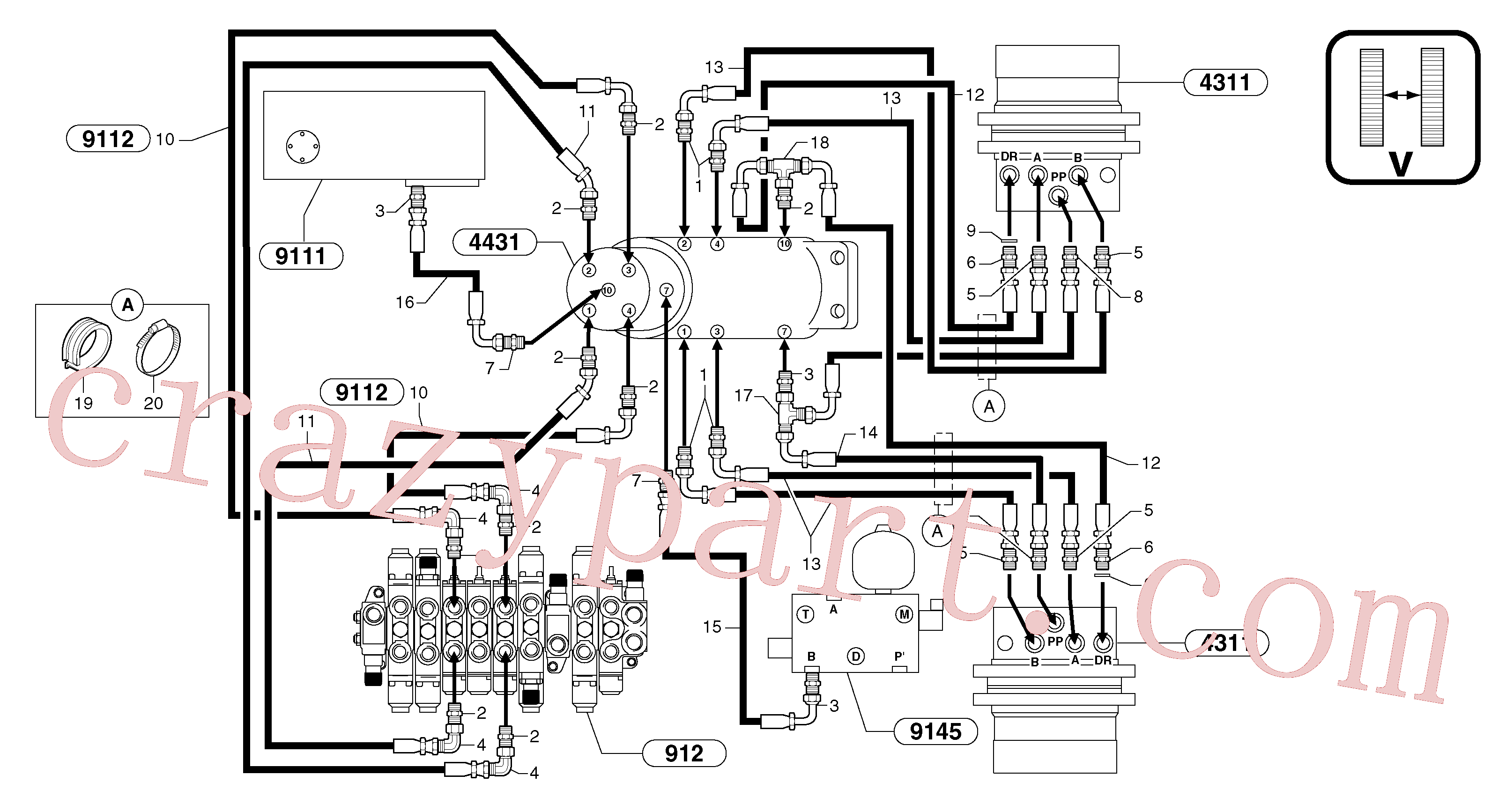 VOE11806399 for Volvo Hydr. circuit. ( travelling ) variable track(91641AX2 assembly)