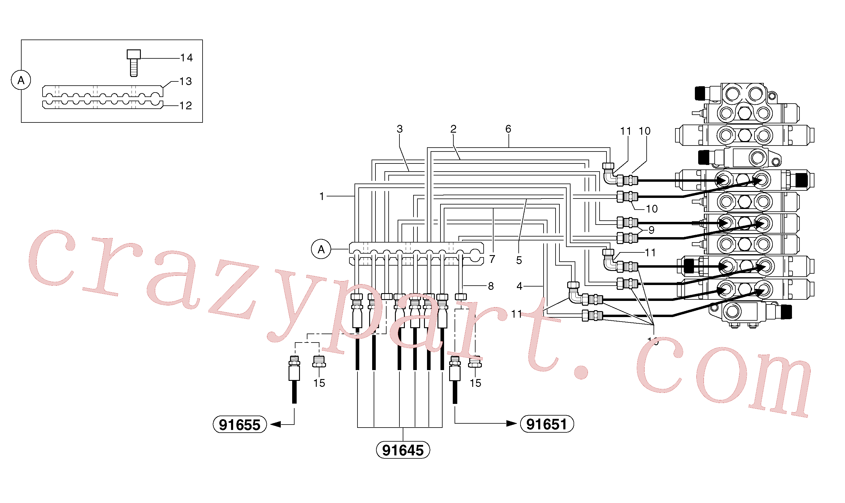 PJ5910605 for Volvo Hydraulic circuit ( platform )(91644X3 assembly)