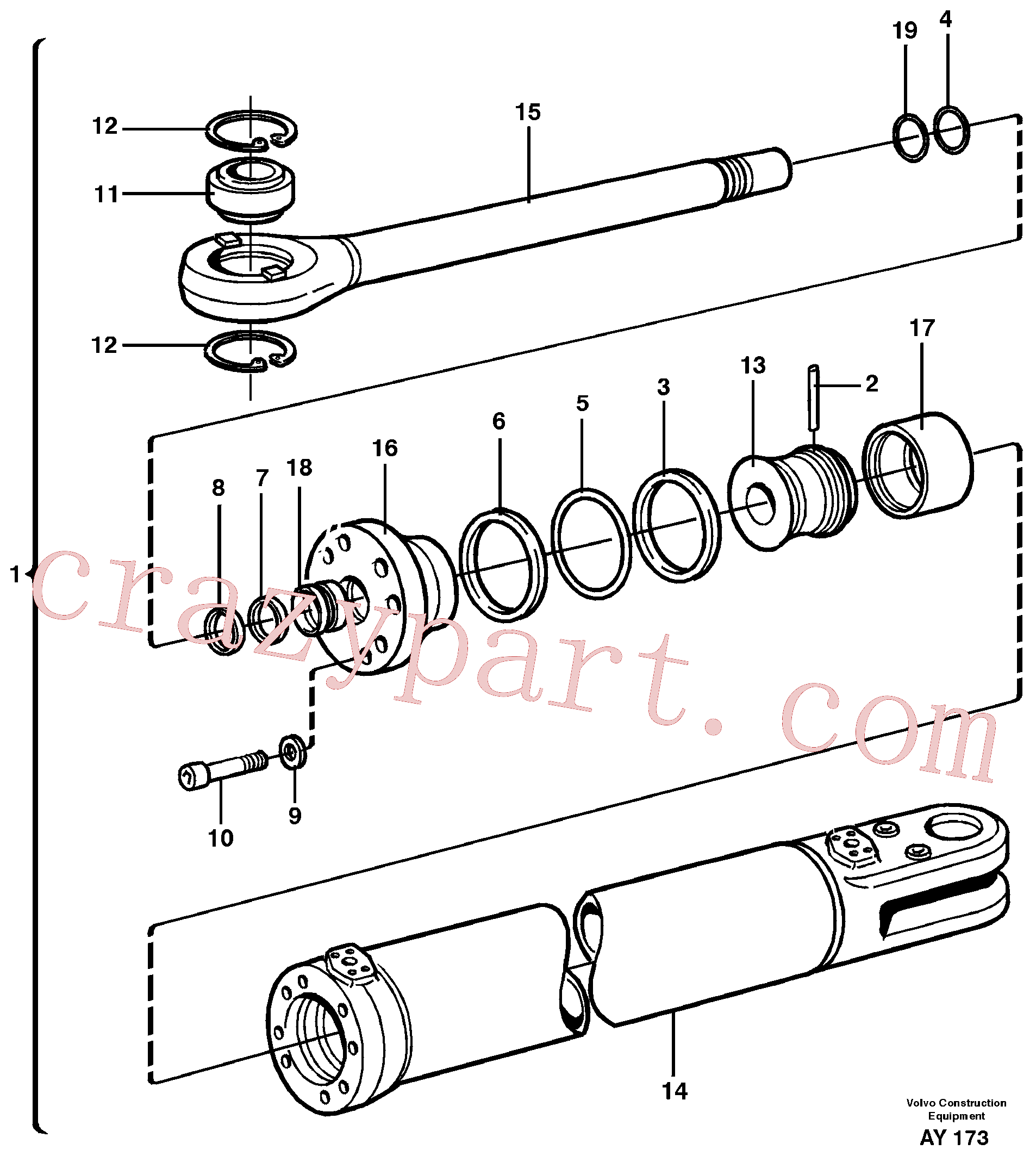 VOE11088148 for Volvo Hydraulic cylinder(AY173 assembly)