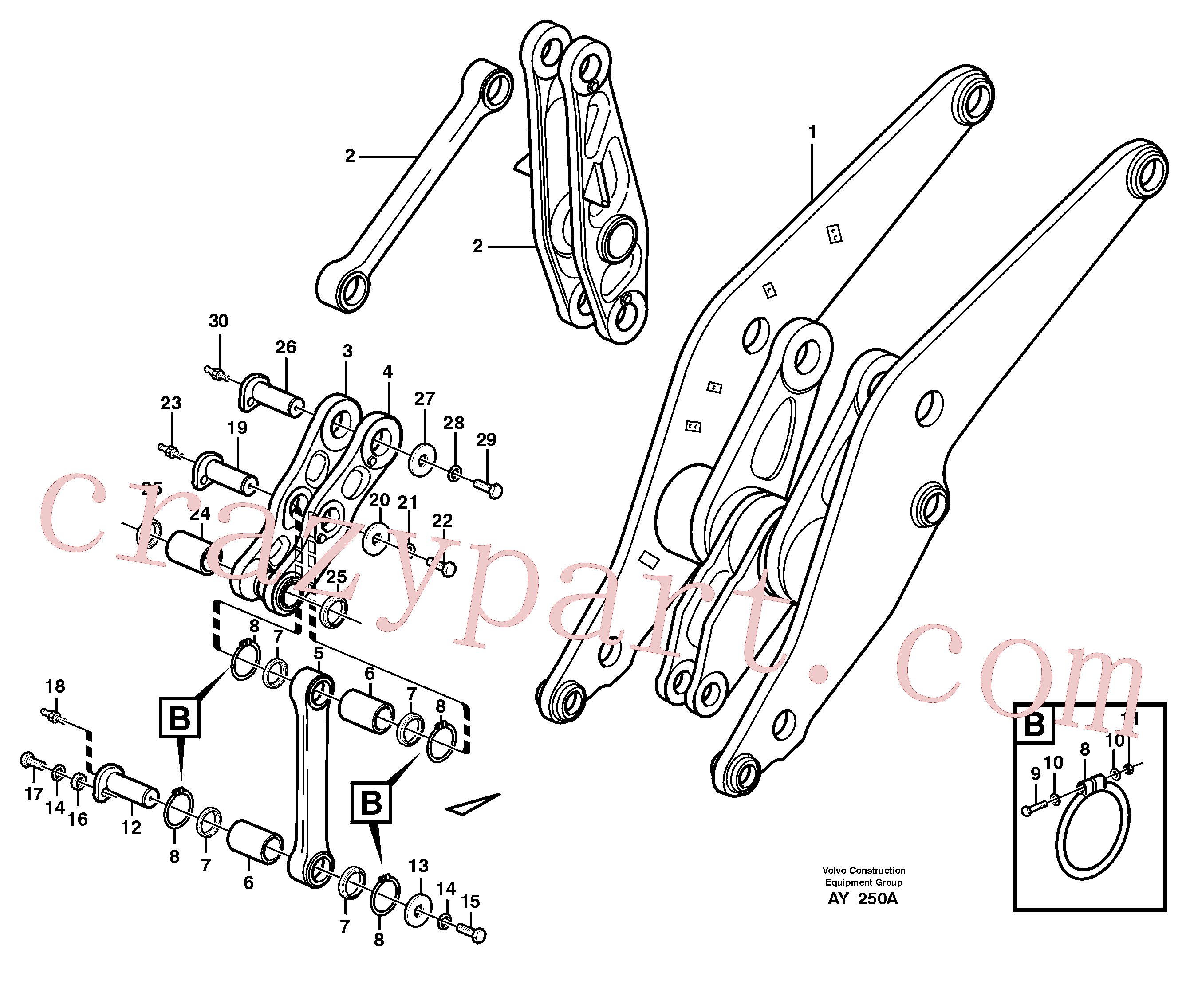 VOE11108672 for Volvo Forward links with fitting parts(AY250A assembly)