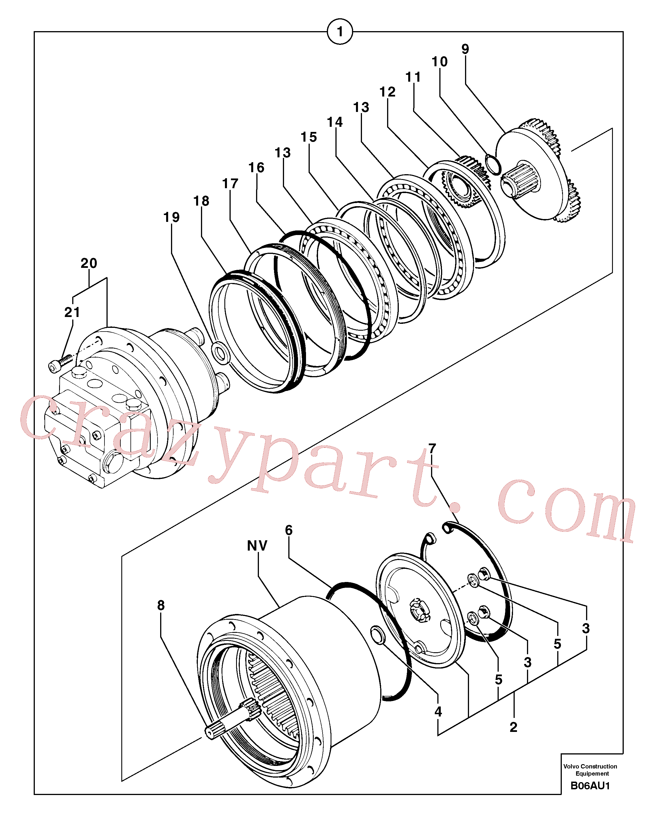 PJ7416961 for Volvo Travelling gear motor assy(B06AU1 assembly)