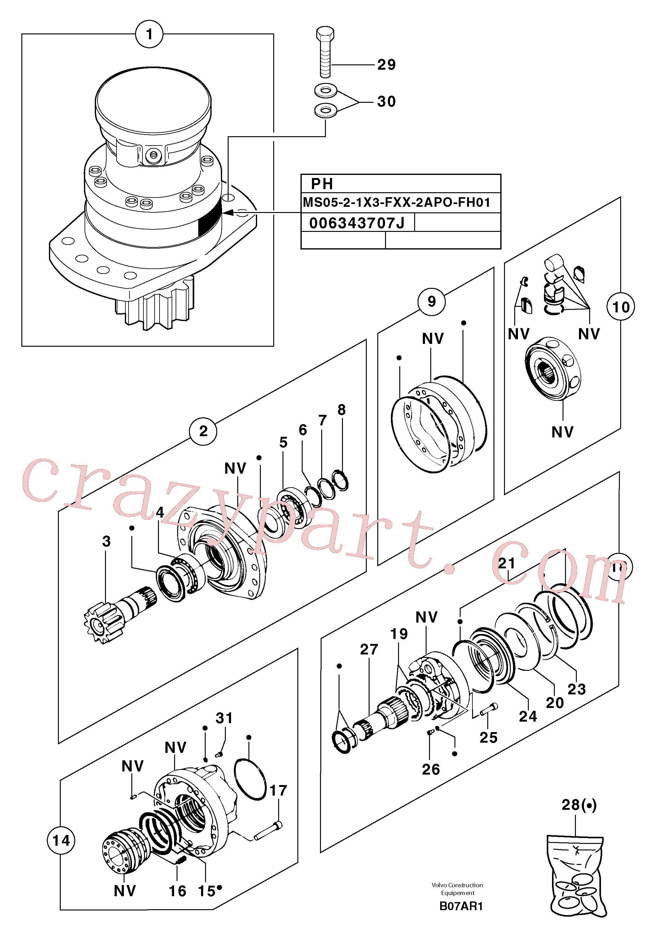 PJ7416687 for Volvo Slewing gear motor(B07AR1 assembly)
