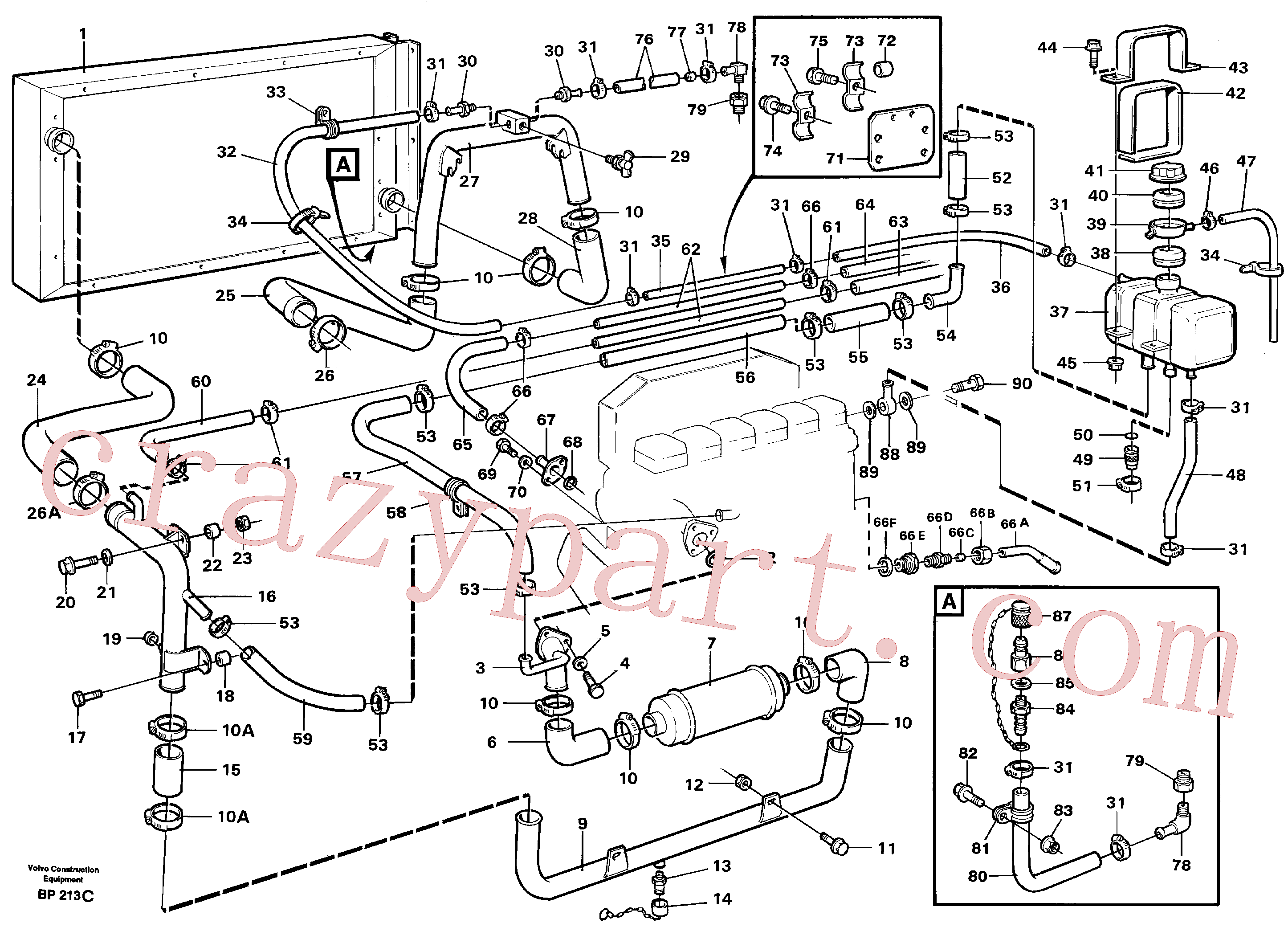 VOE4786581 for Volvo Radiator with connecting parts(BP213C assembly)