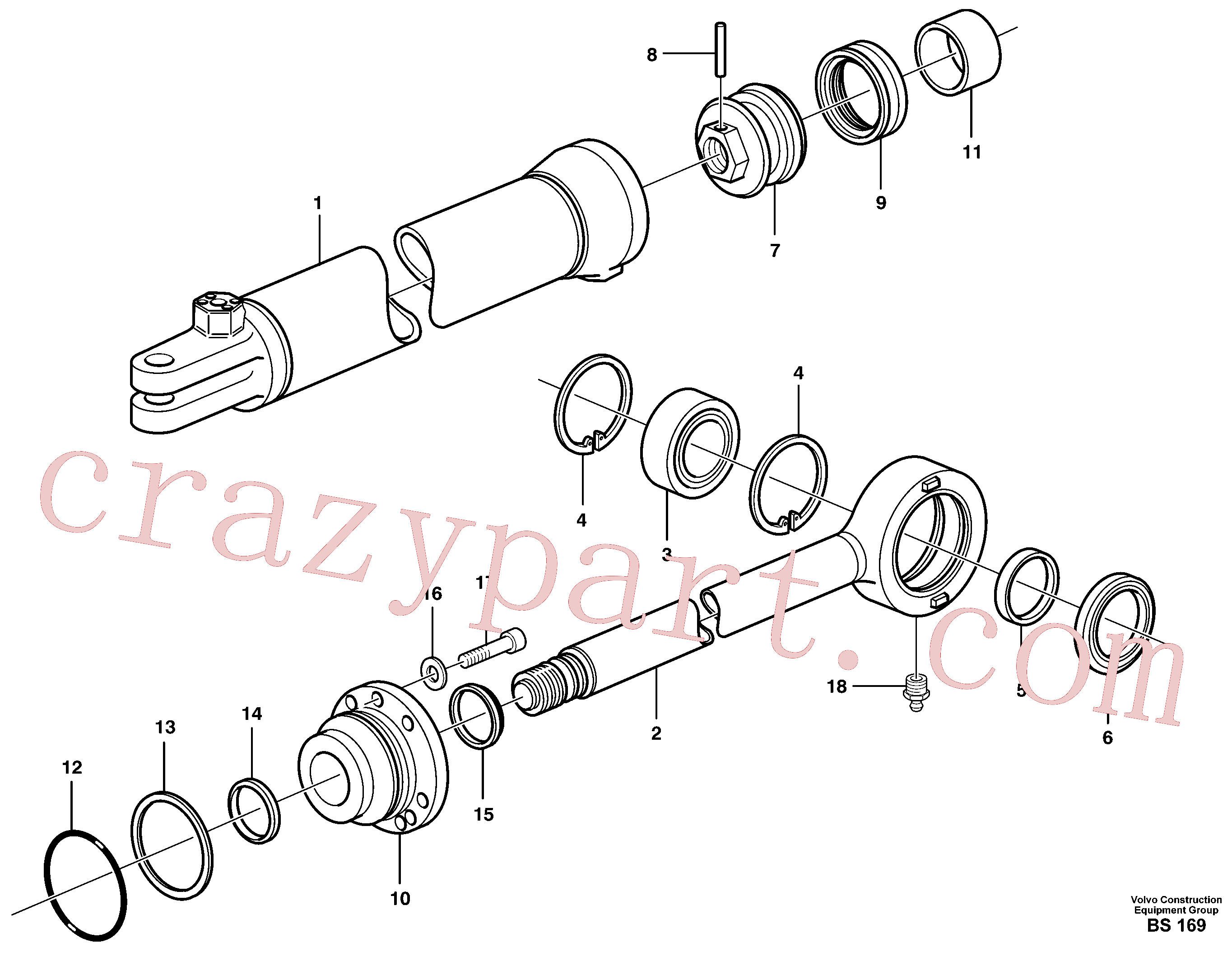 VOE11043006 for Volvo Hydraulic cylinder(BS169 assembly)