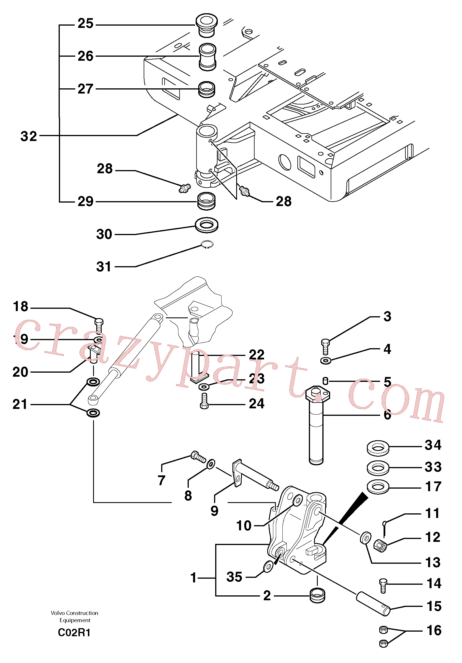 PJ4430003 for Volvo Platform / pivot pin(C02R1 assembly)