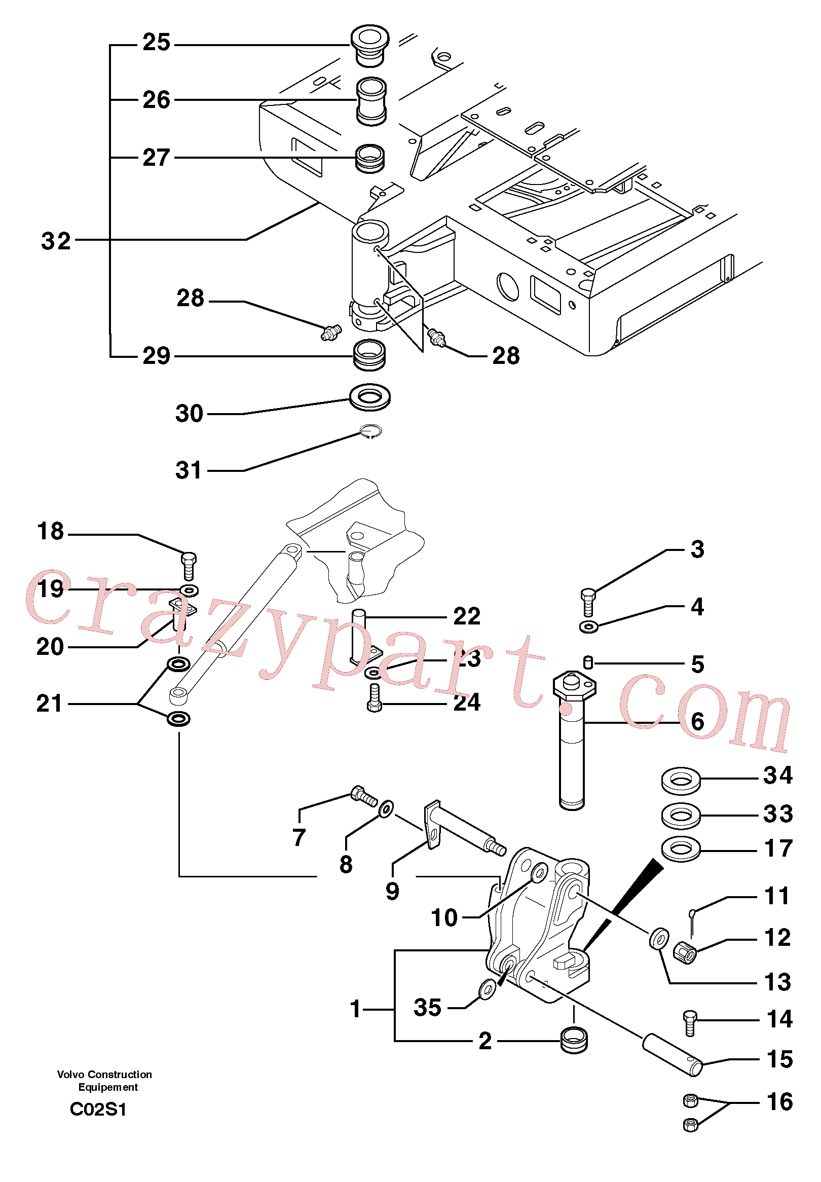 PJ4430003 for Volvo Platform / pivot pin(C02S1 assembly)