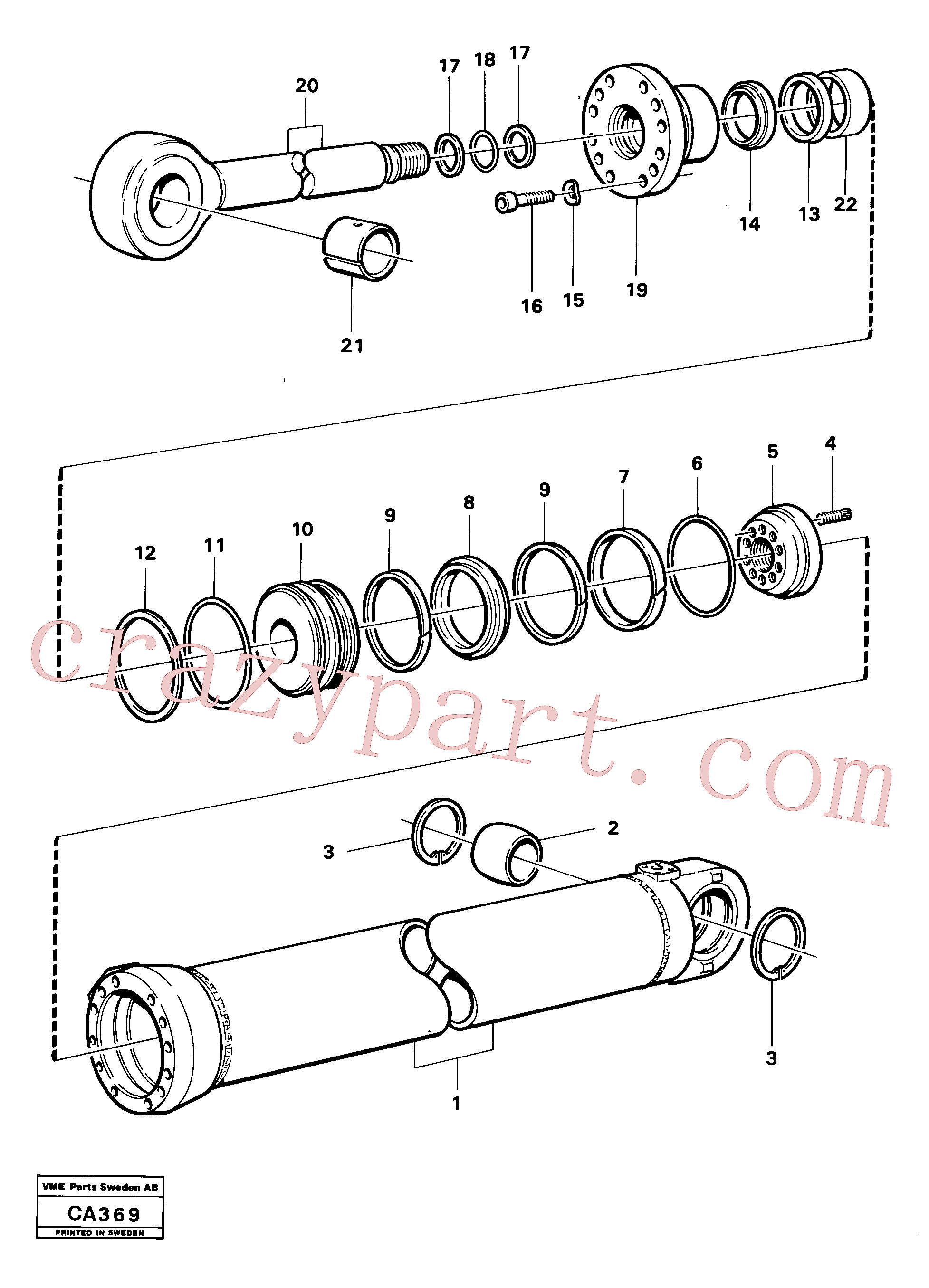 VOE4833295 for Volvo Hydraulic cylinder dipperstick cylinder(CA369 assembly)