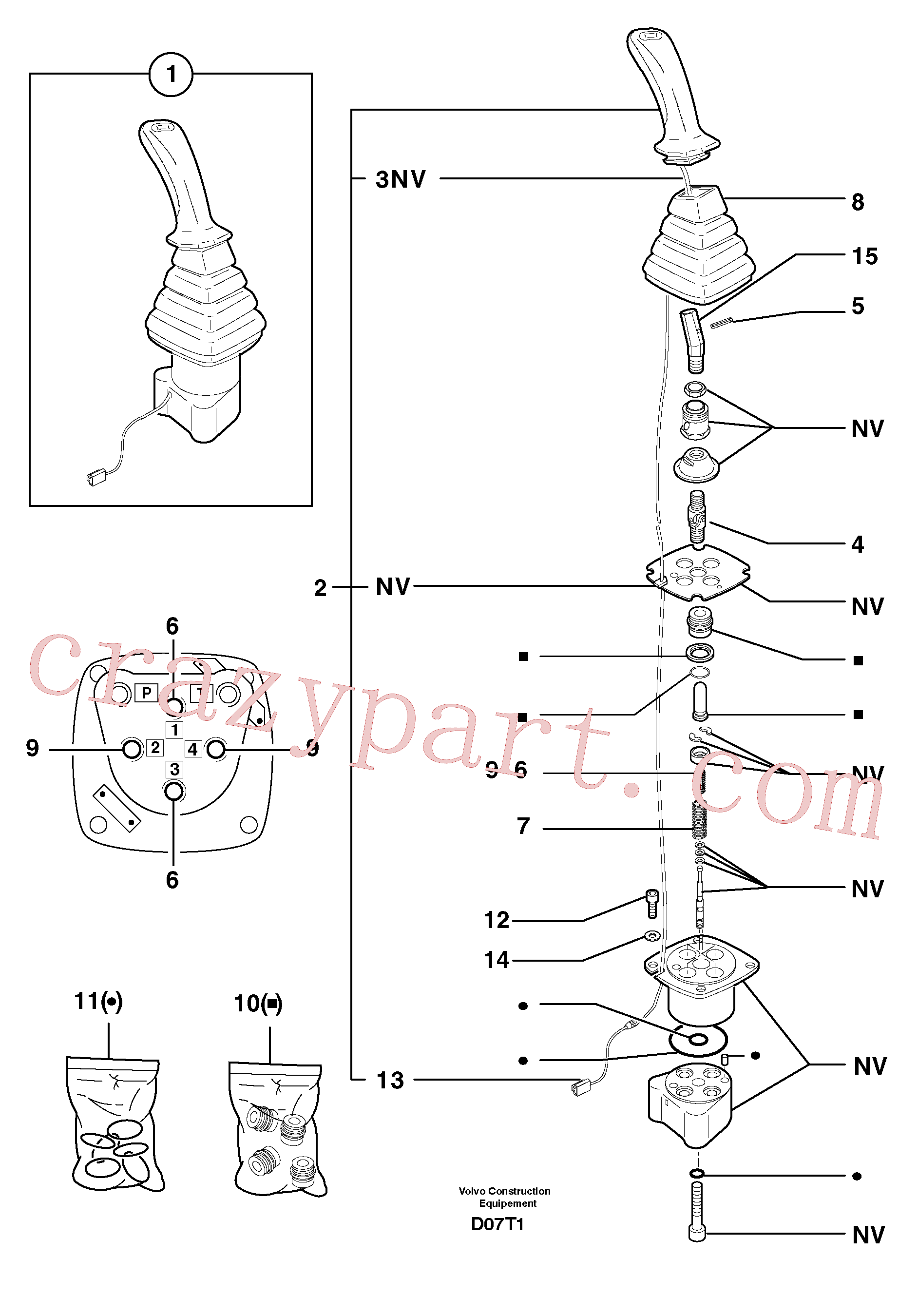 PJ7415653 for Volvo Control lever : dipper arm / slewing ( left )(D07T1 assembly)