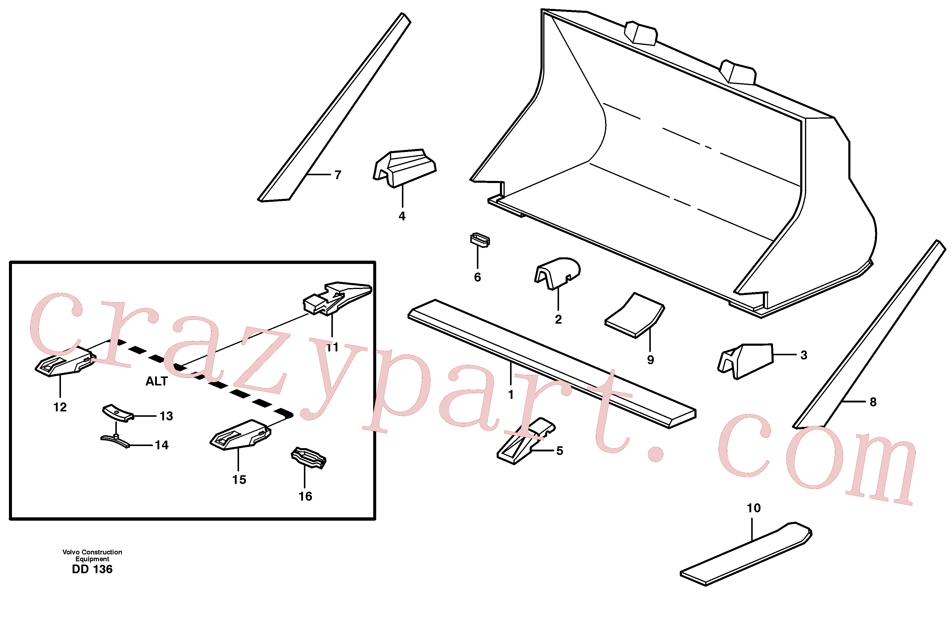 VOE4881705 for Volvo Bucket, straight with teeth(DD136 assembly)
