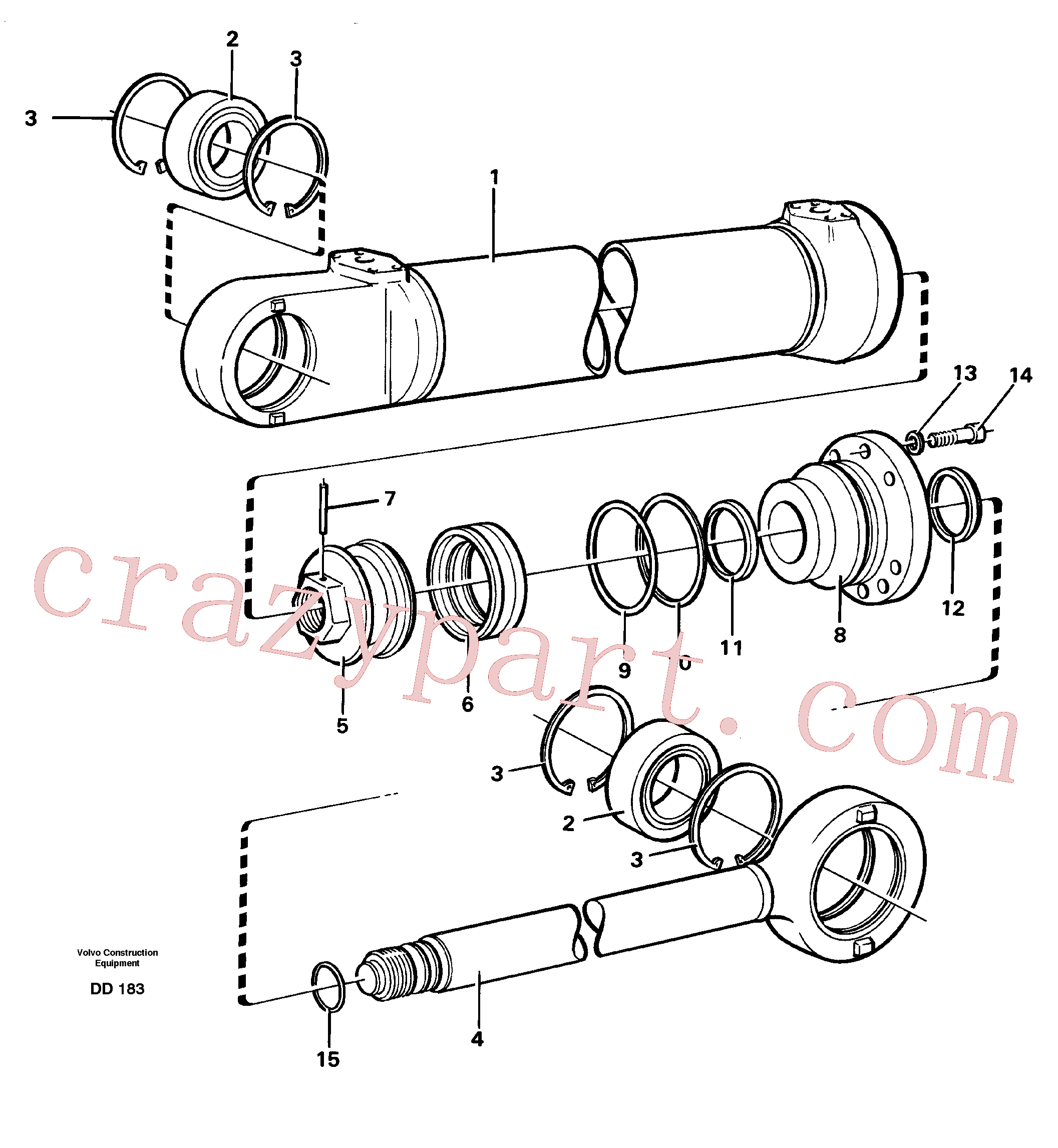VOE184059 for Volvo Hydraulic cylinder(DD183 assembly)