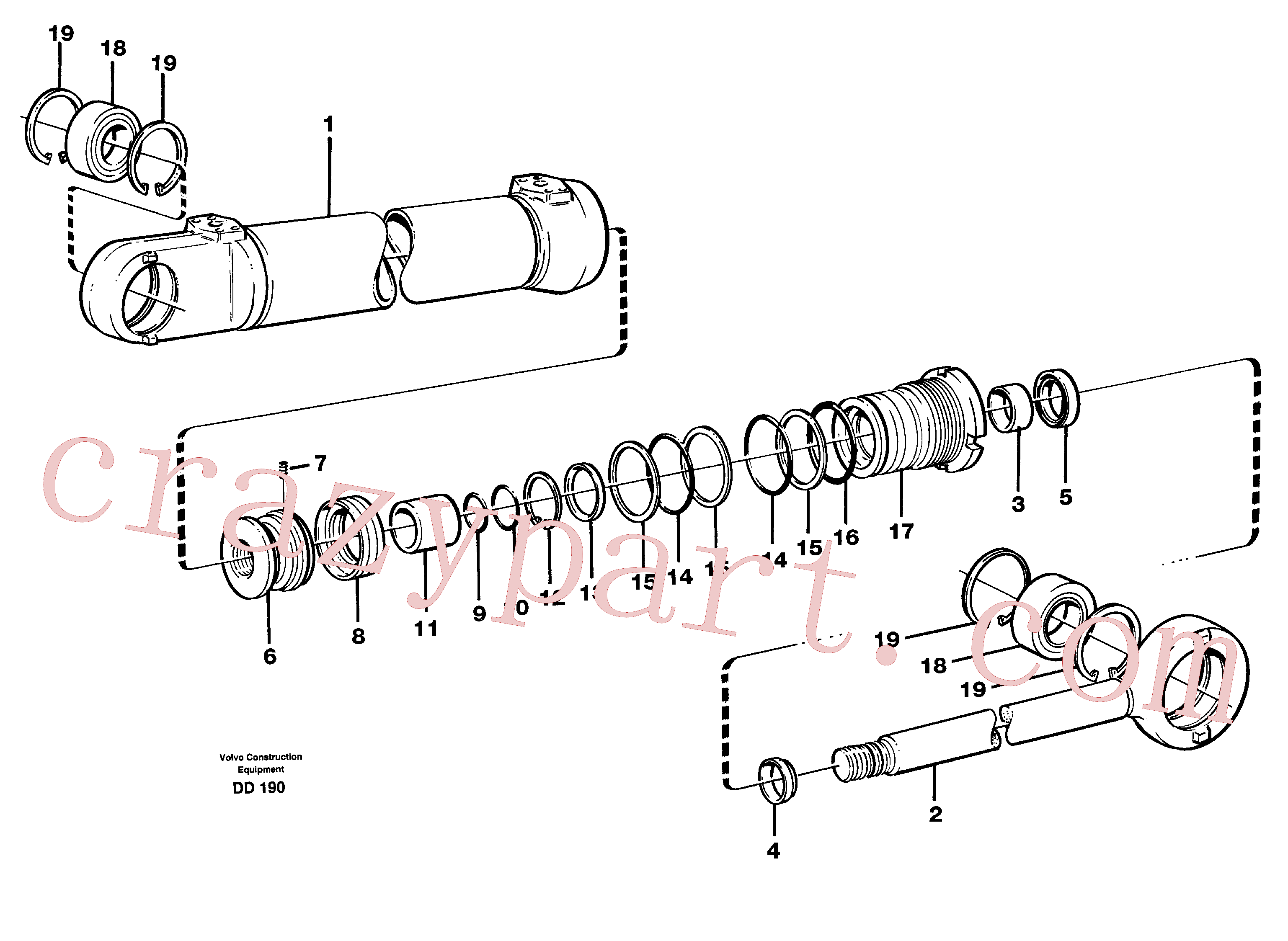 VOE11704142 for Volvo Hydraulic cylinder(DD190 assembly)