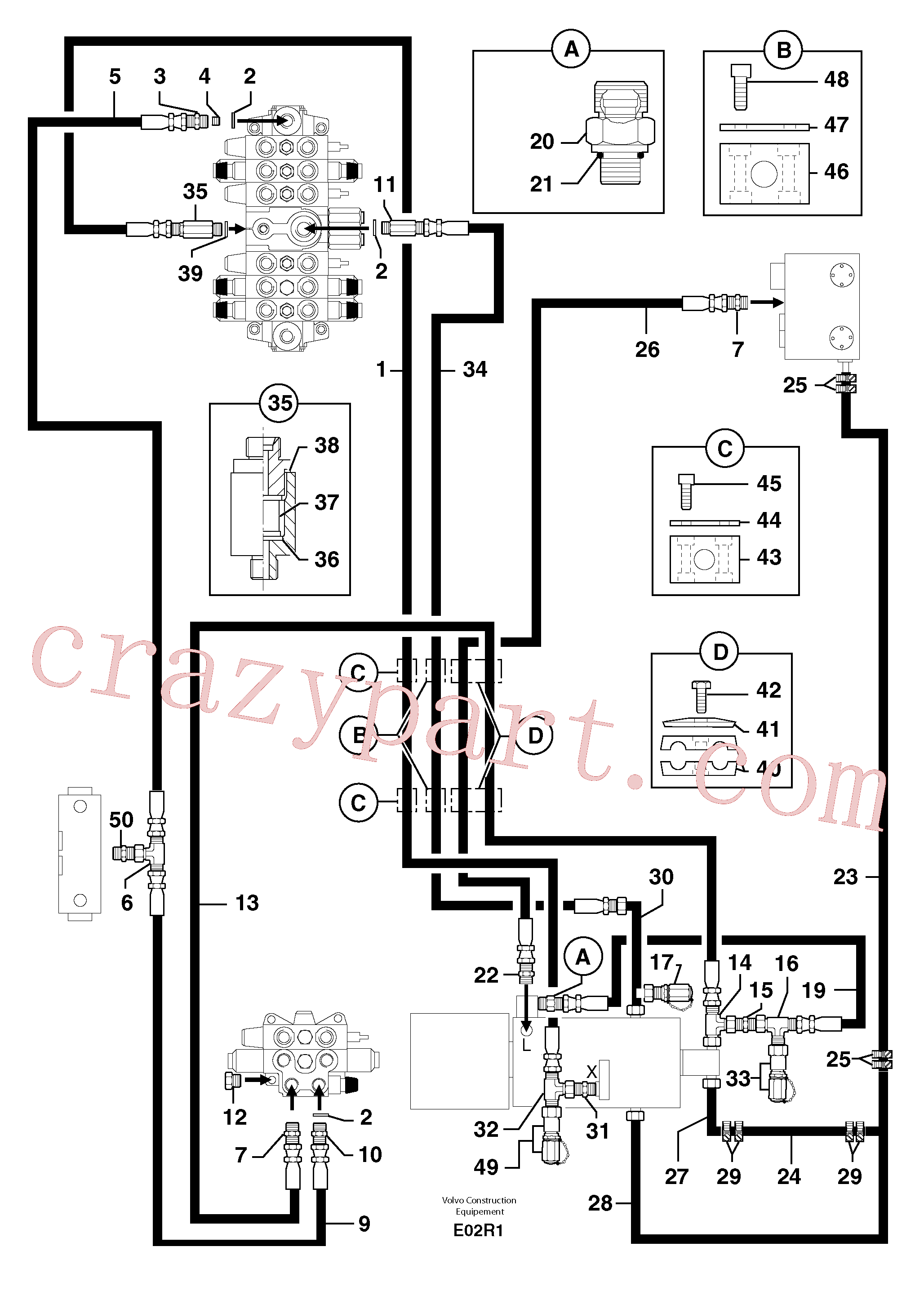 PJ4770471 for Volvo Attachments supply and return circuit(E02R1 assembly)