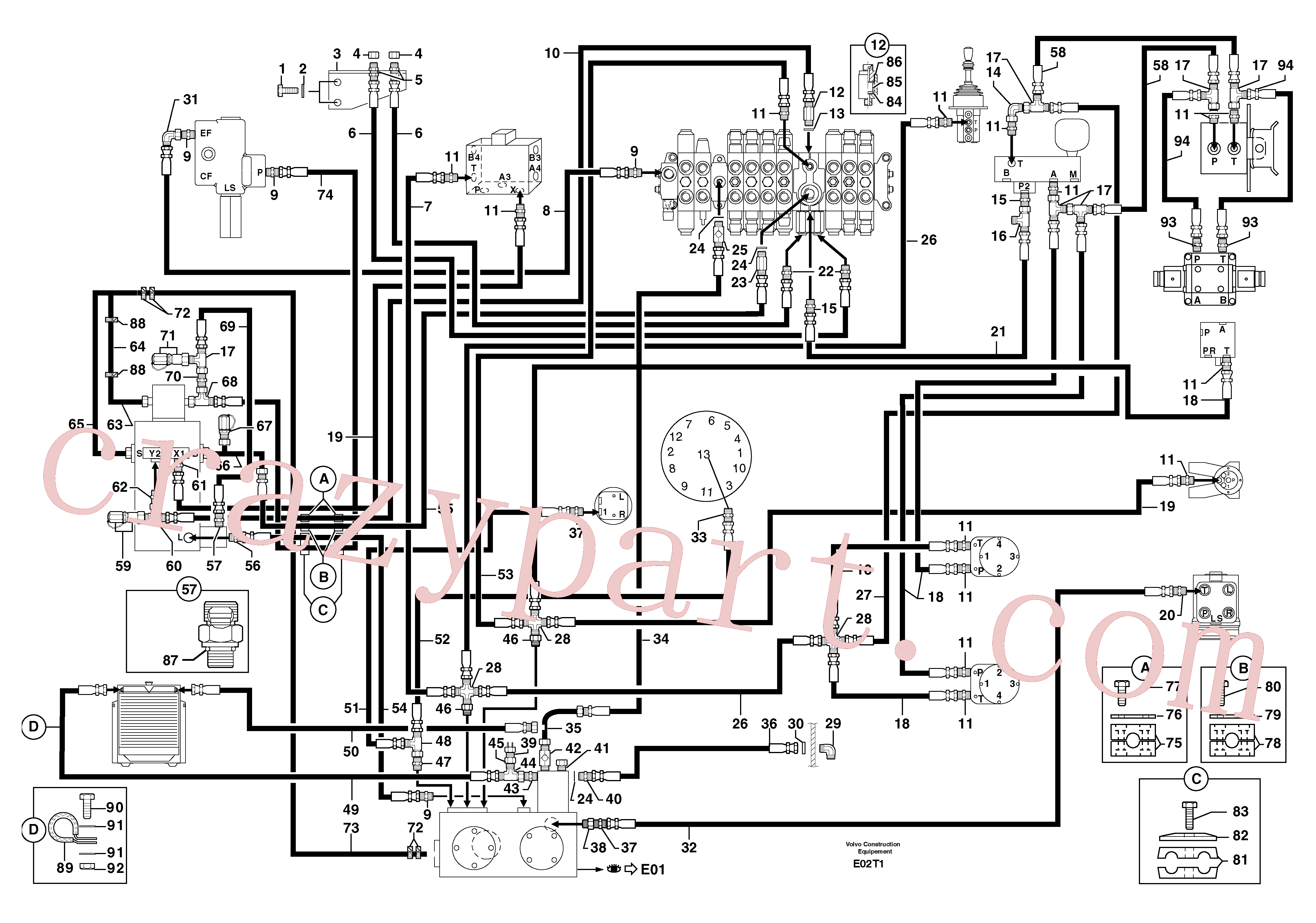 PJ5330086 for Volvo Attachments supply and return circuit(E02T1 assembly)