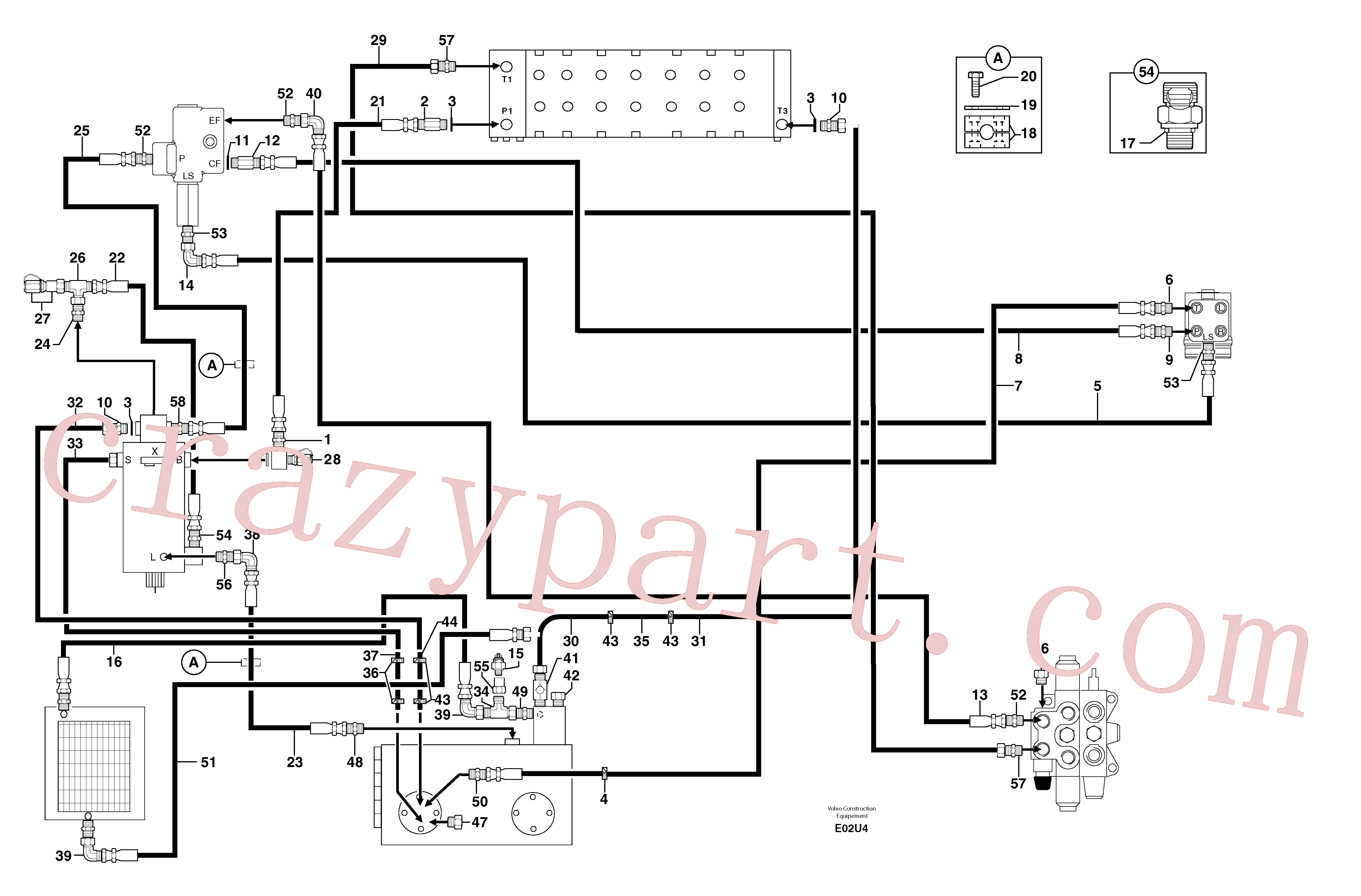 PJ4750577 for Volvo Attachments supply and return circuit(E02U4 assembly)