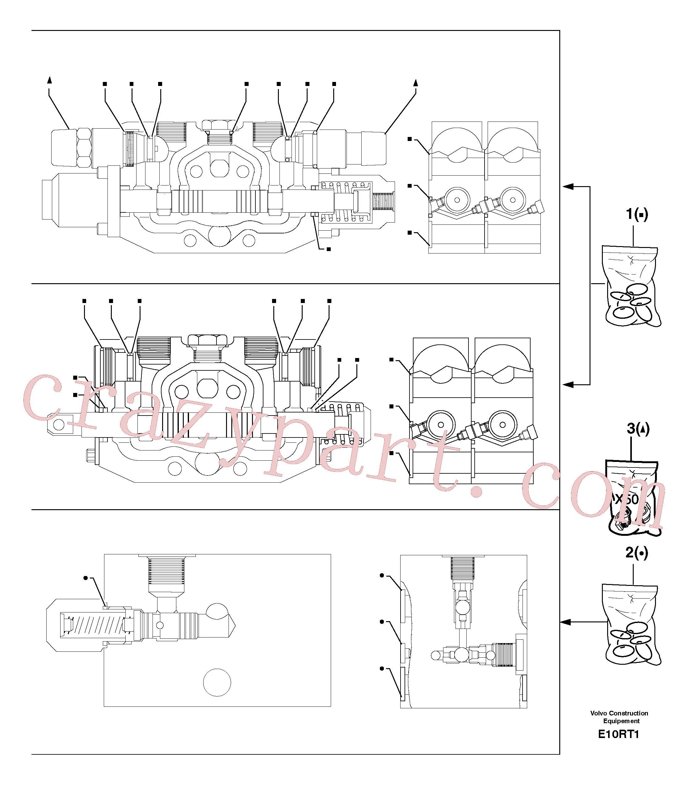 PJ7415997 for Volvo Control valve : seal (kit) for complete element(E10RT1 assembly)