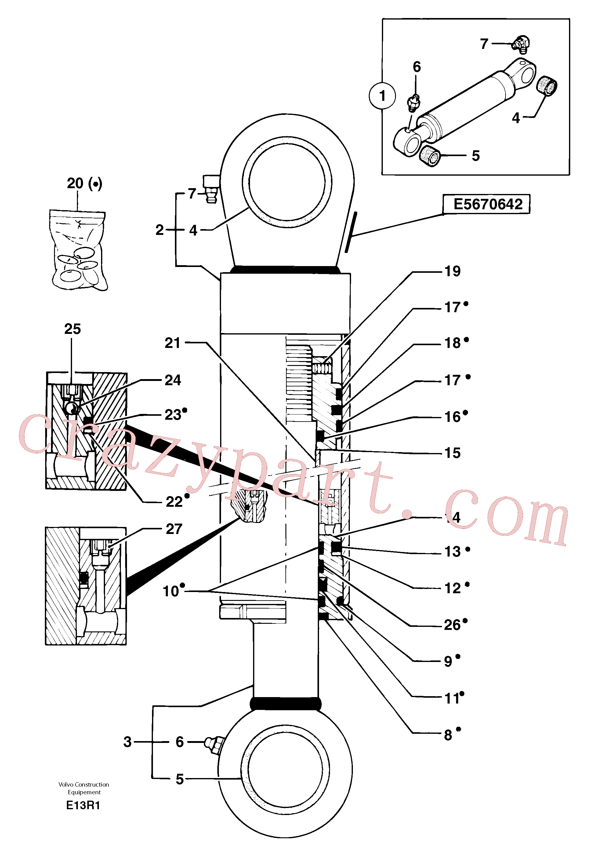 PJ7412475 for Volvo Boom cylinder(E13R1 assembly)
