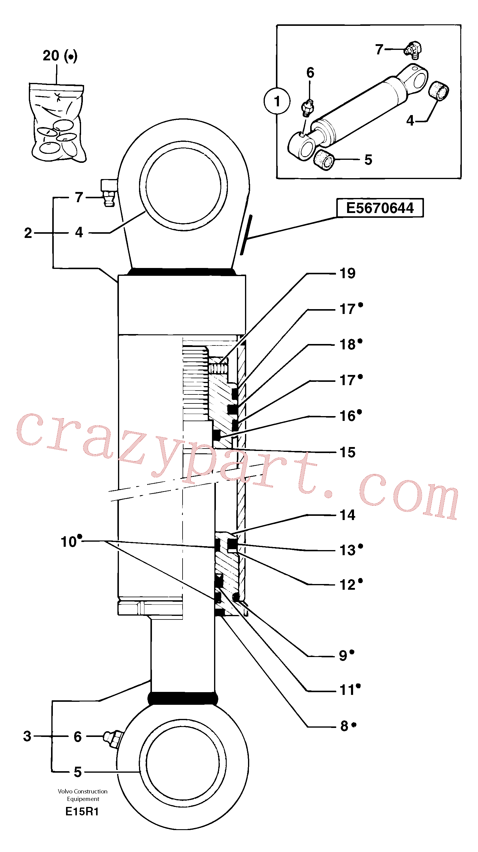 PJ7414565 for Volvo Bucket cylinder(E15R1 assembly)