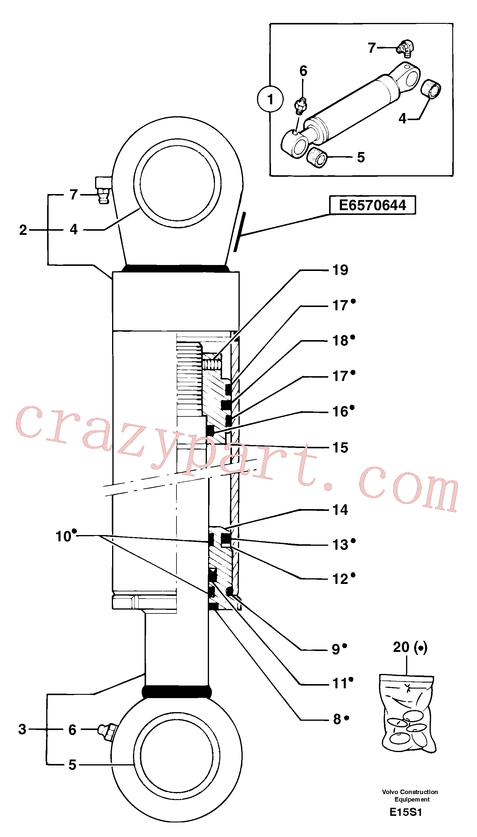 PJ7414565 for Volvo Bucket cylinder(E15S1 assembly)