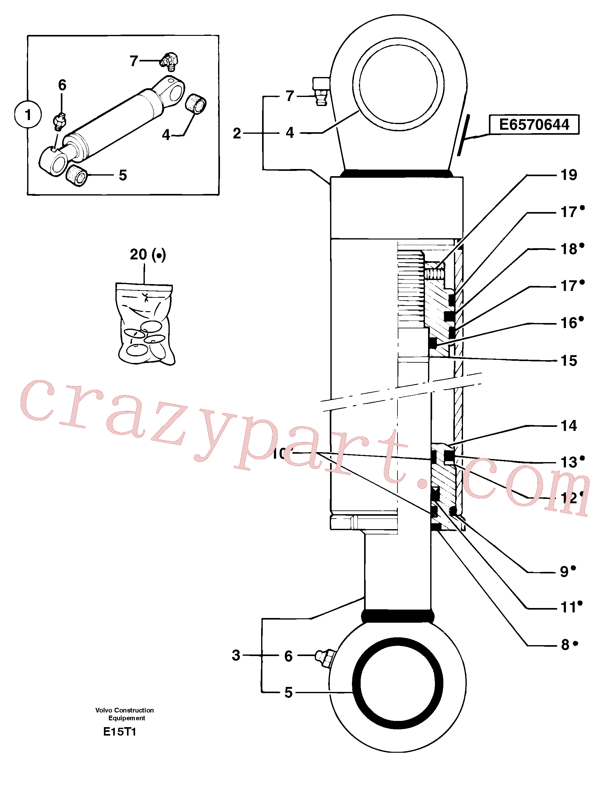 PJ7414565 for Volvo Bucket cylinder(E15T1 assembly)