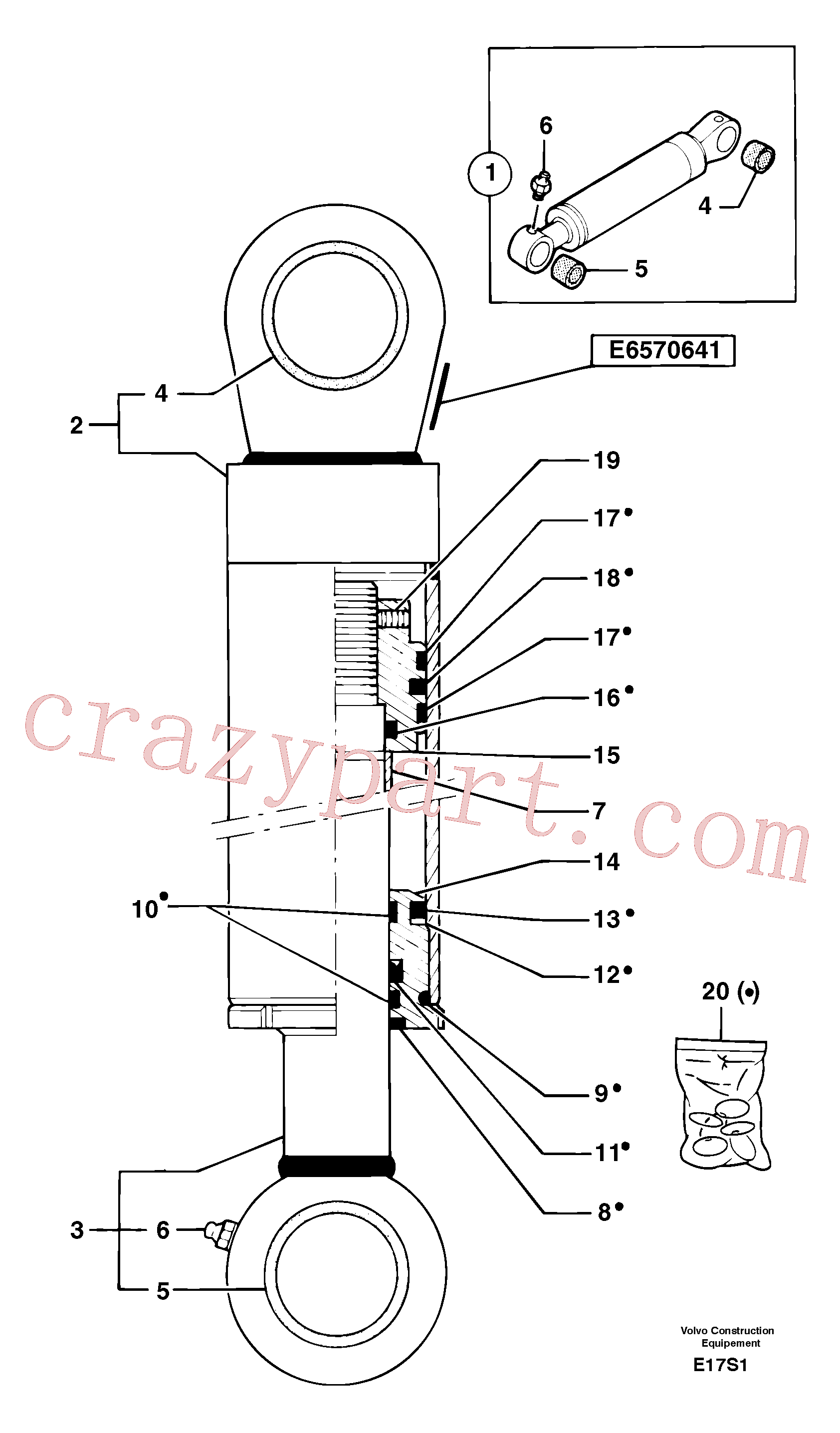 PJ7412487 for Volvo Boom offset cylinder(E17S1 assembly)