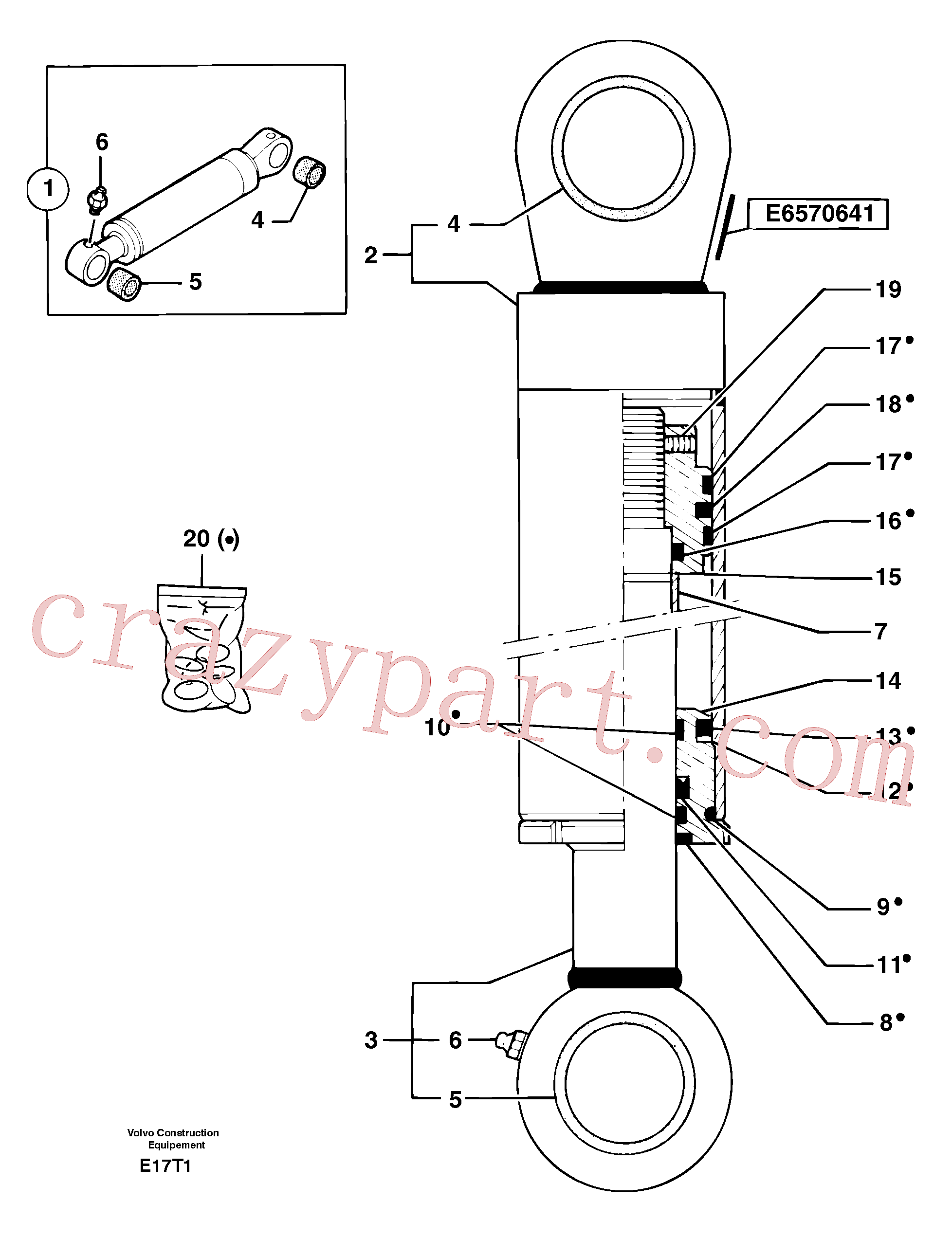 PJ7412487 for Volvo Boom offset cylinder(E17T1 assembly)