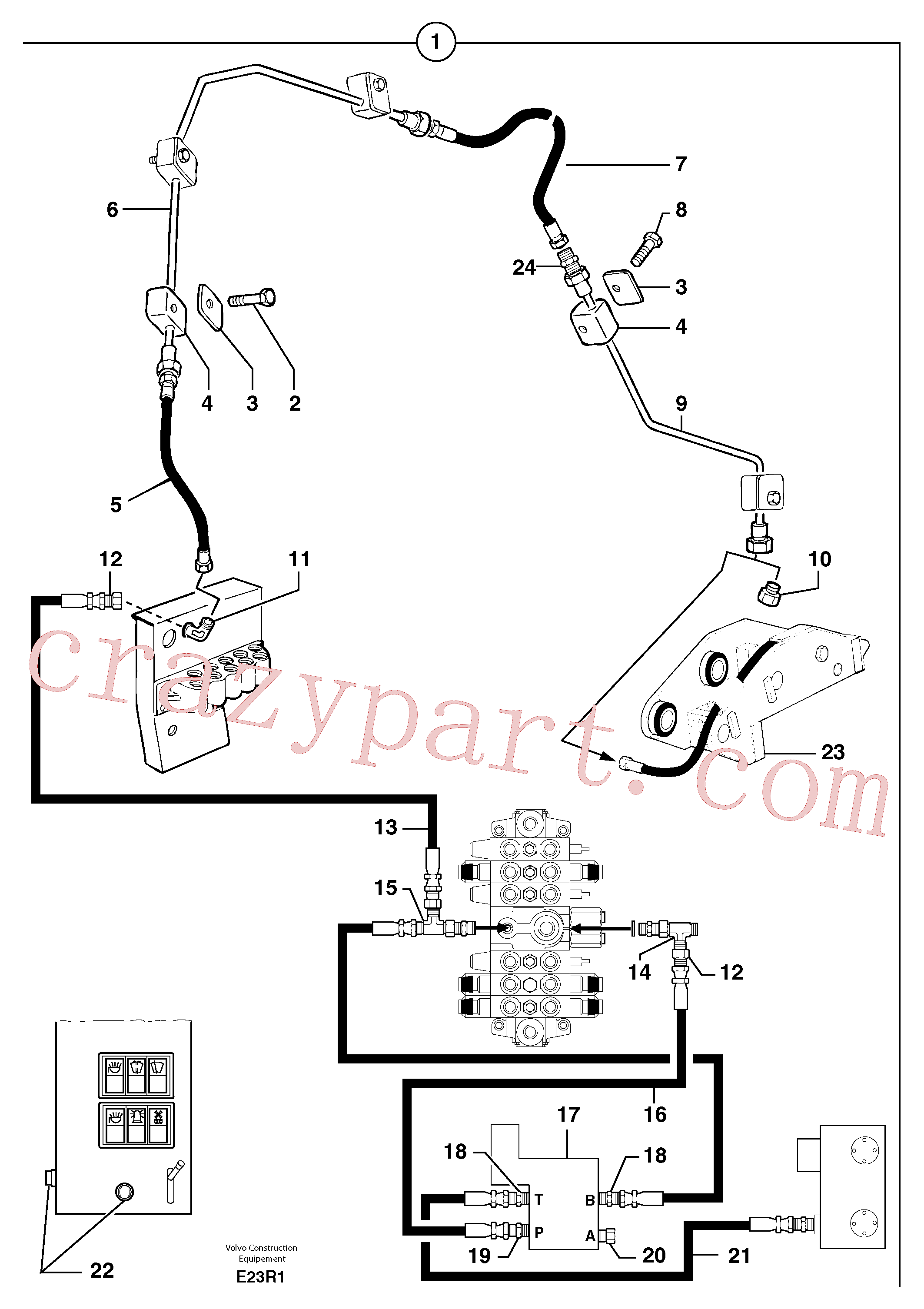 PJ4690059 for Volvo Hydraulic circuit ( snap-action attachment )(E23R1 assembly)