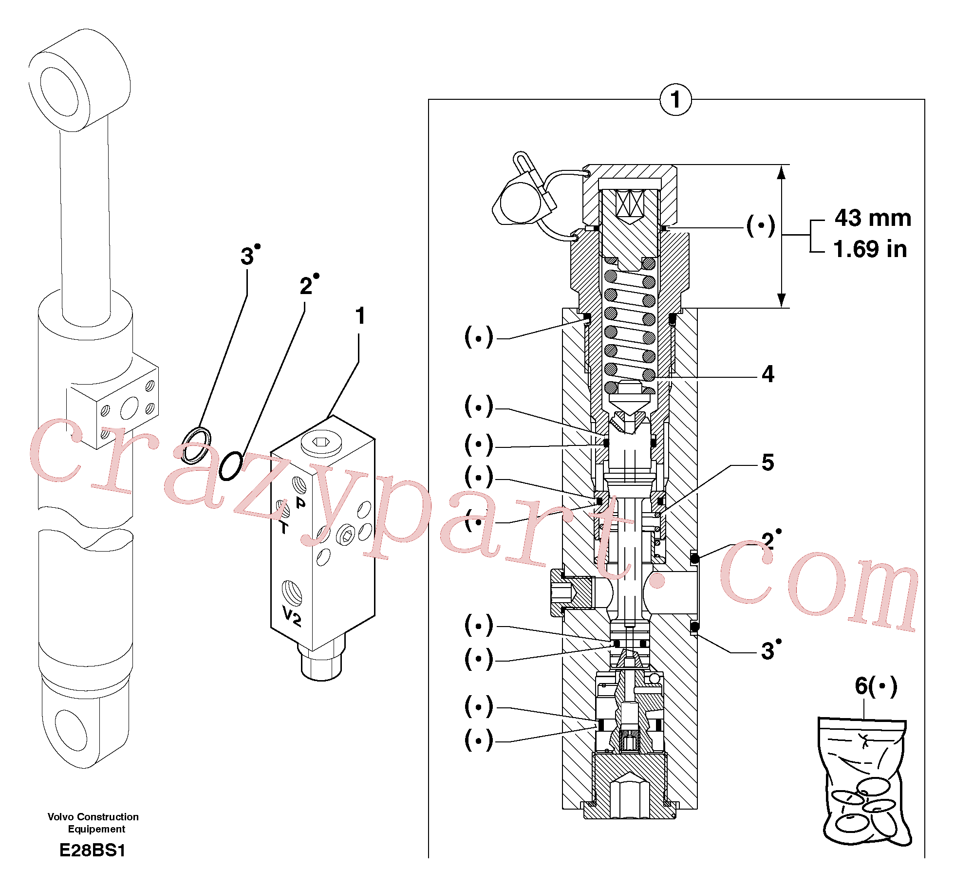 PJ7417887 for Volvo Safety valve ( dipper arm cylinder )(E28BS1 assembly)