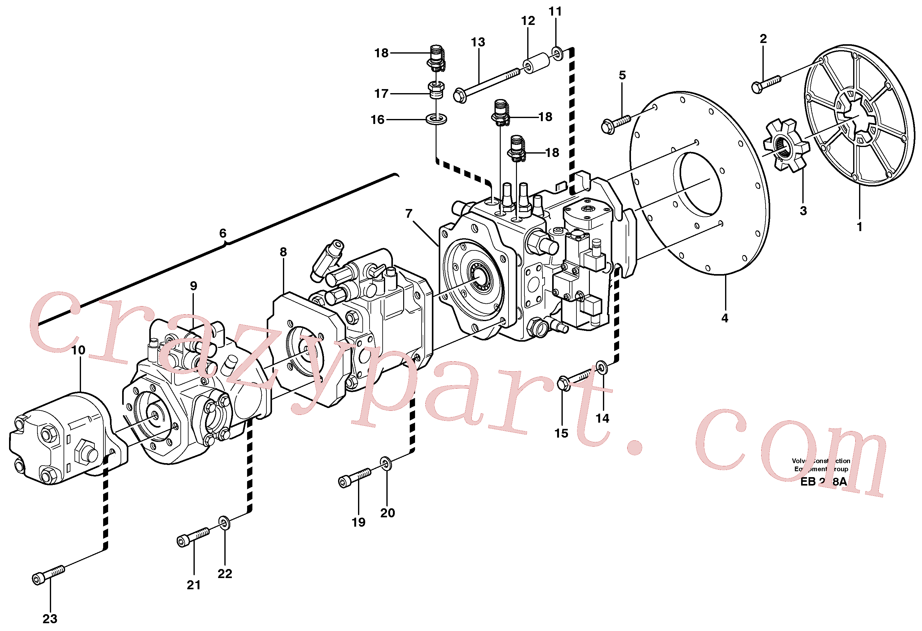 VOE11100853 for Volvo Pump with fitting parts(EB228A assembly)