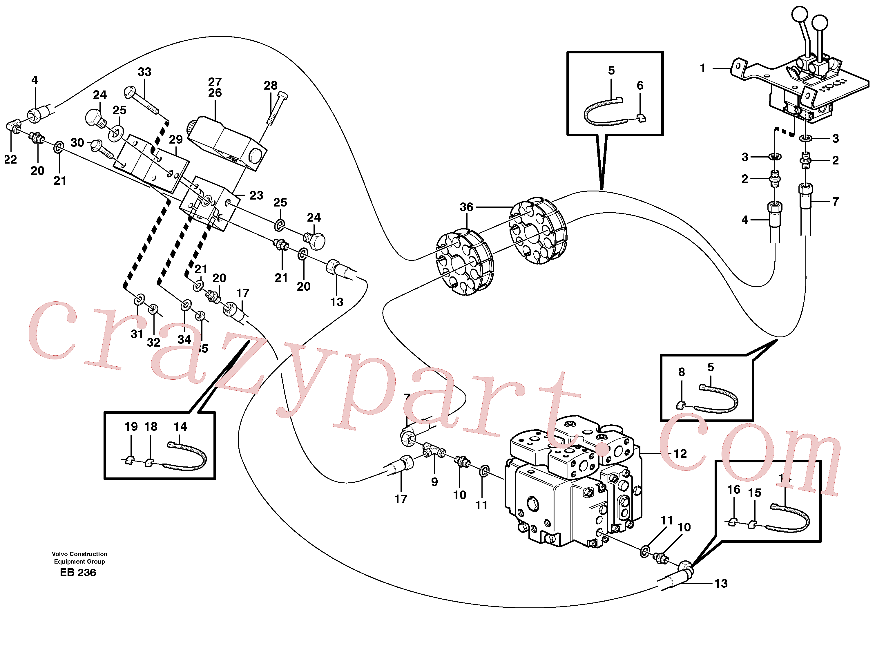 ZM7092202 for Volvo Servo - hydraulic, control lines, lift(EB236 assembly)