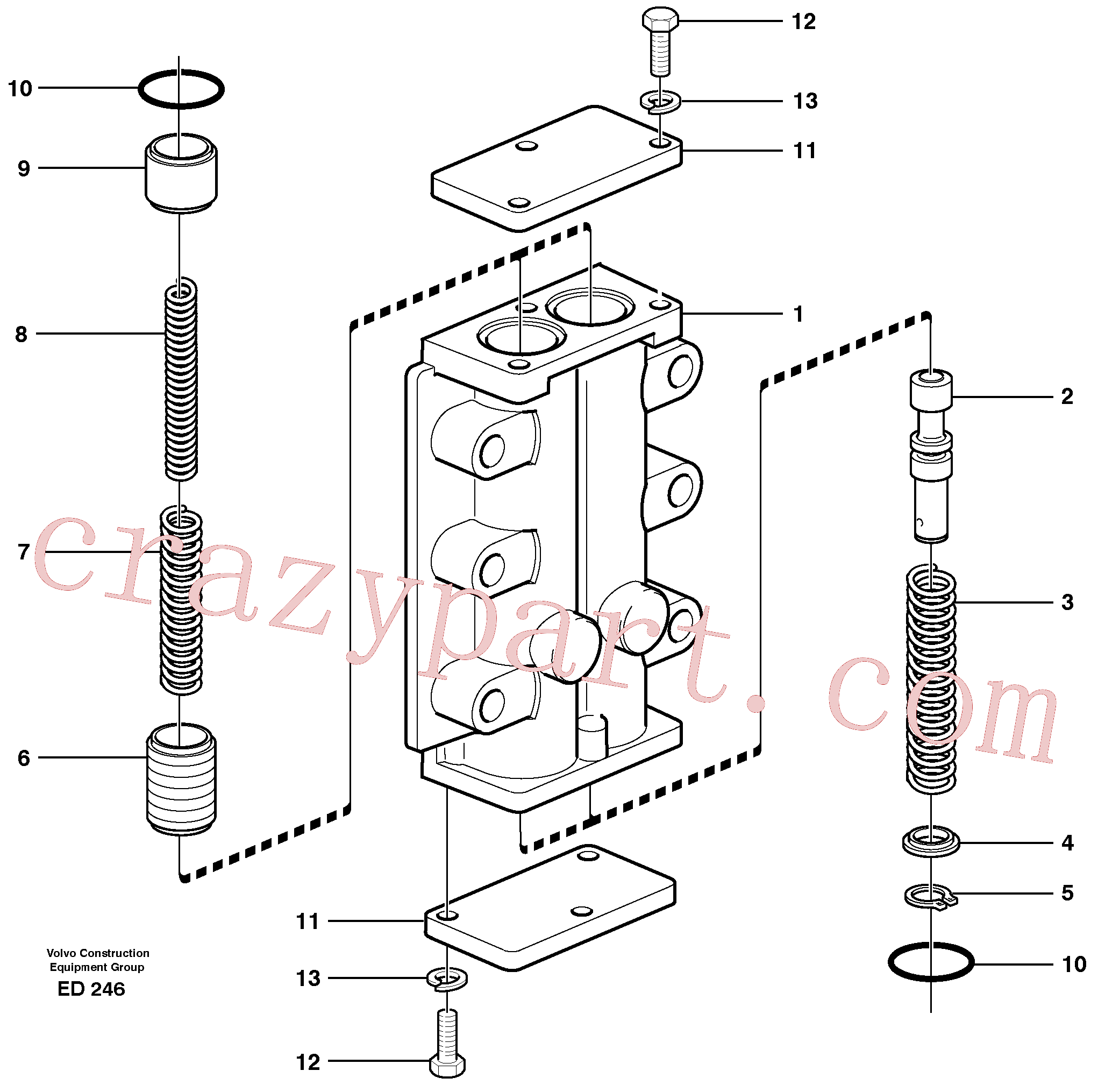 VOE914448 for Volvo Valve, circuit body and return valve(ED246 assembly)