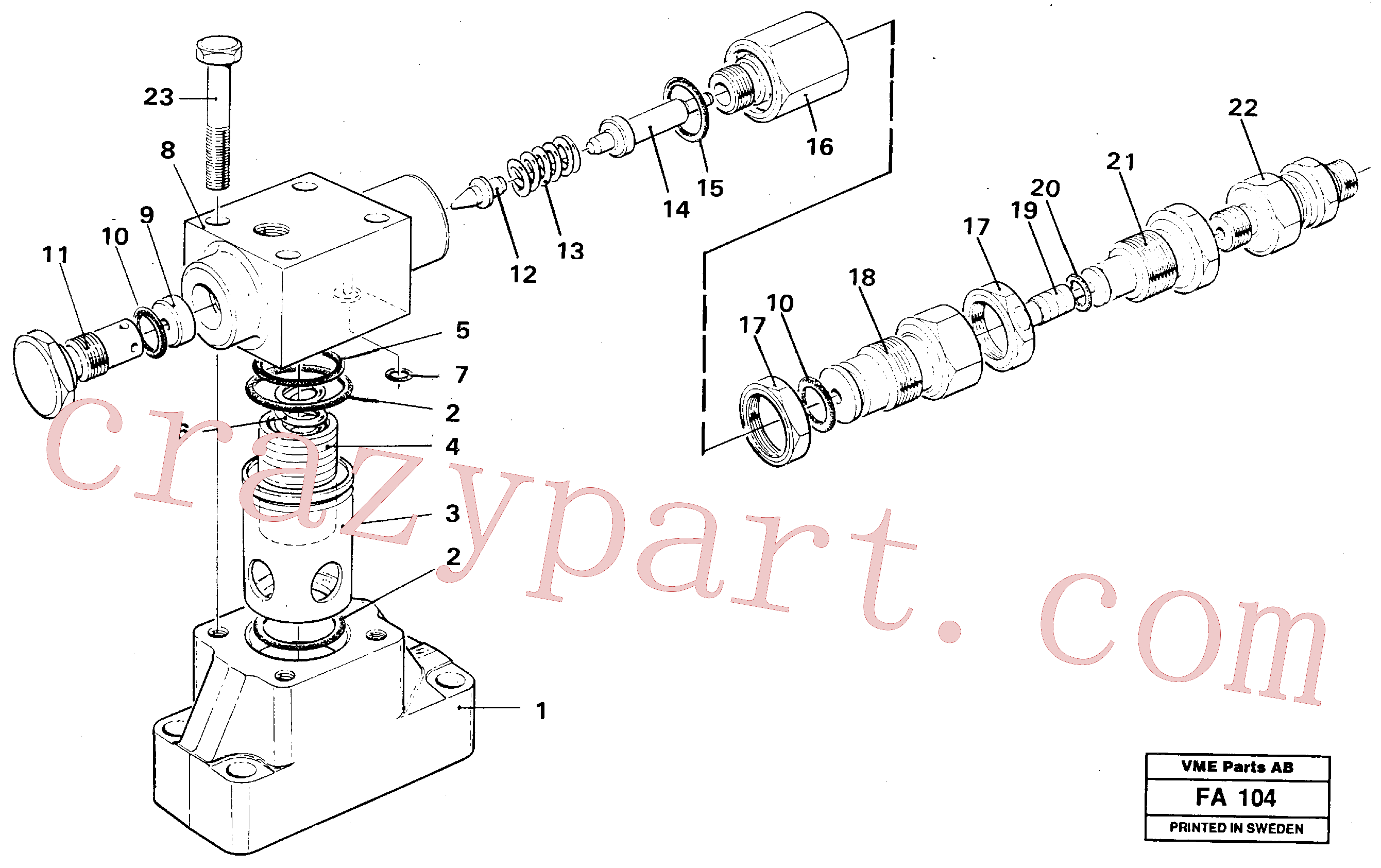 VOE14210587 for Volvo Pressure limiting valve(FA104 assembly)
