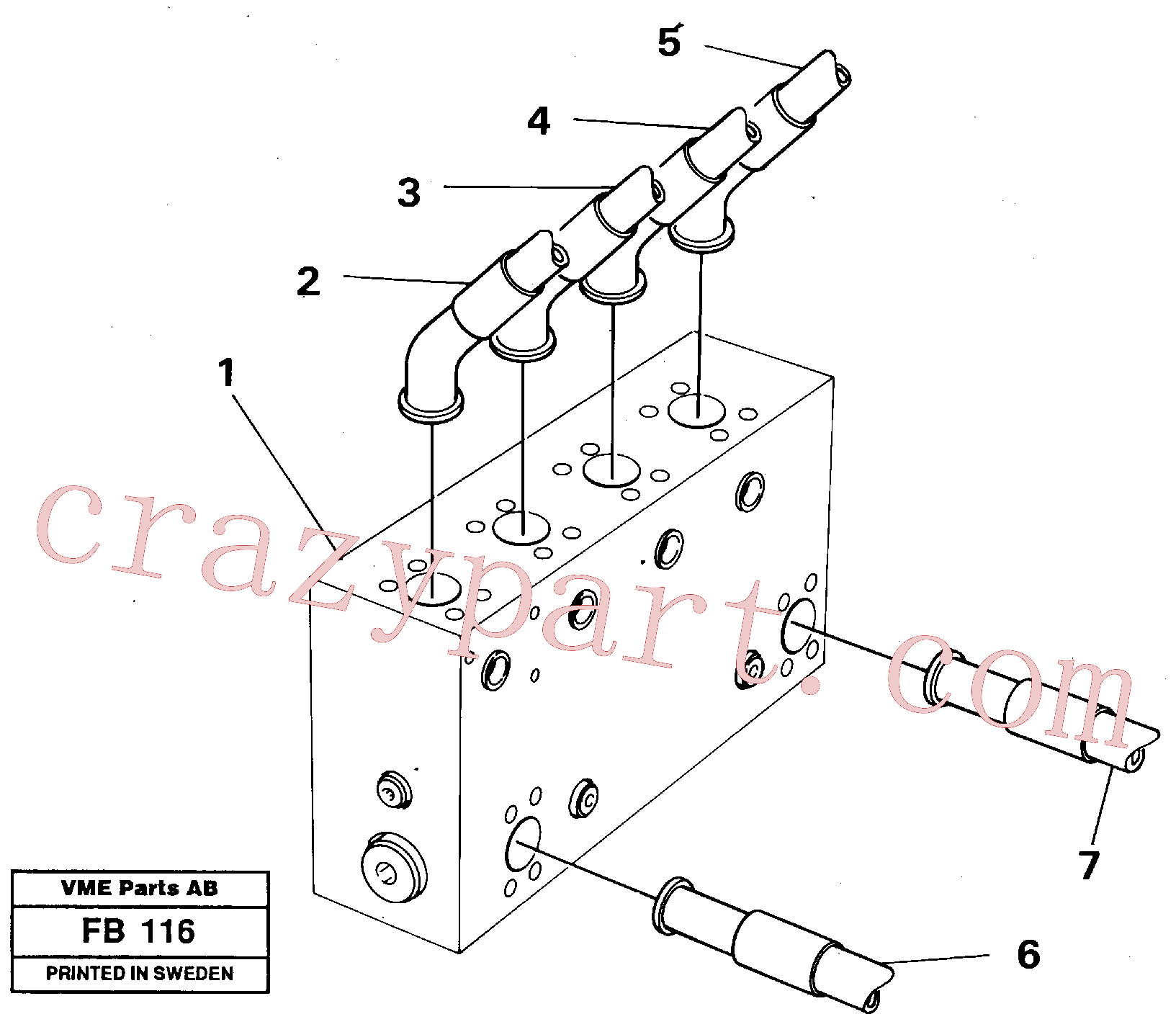 VOE14048190 for Volvo Connection block with hoses(FB116 assembly)