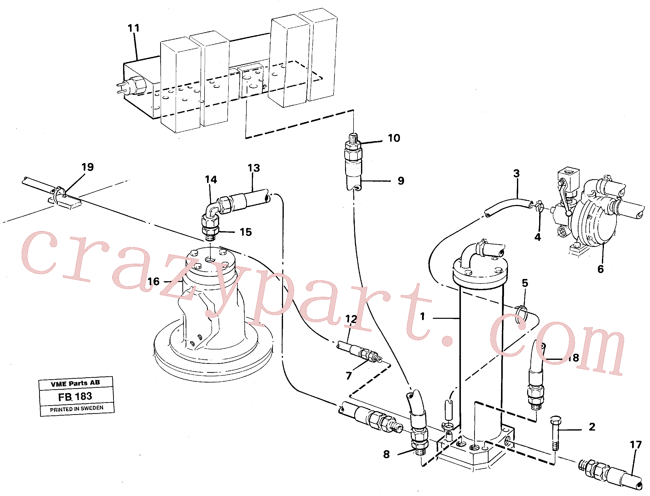 VOE14042334 for Volvo Leak oil filter incl. connections(FB183 assembly)