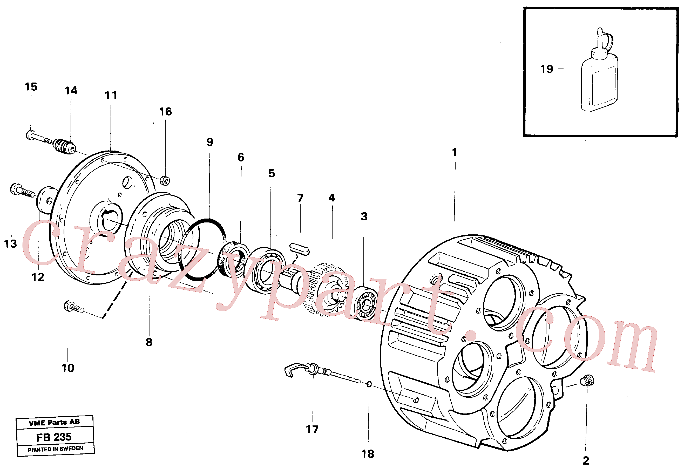 VOE14005061 for Volvo Pump gear box(FB235 assembly)