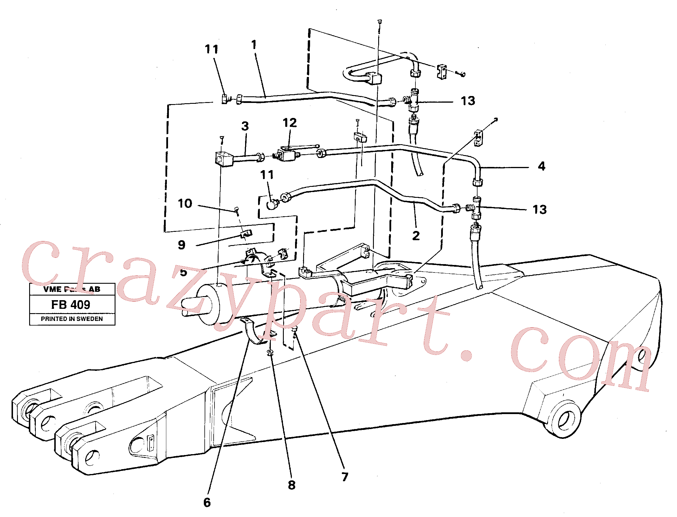 VOE14254935 for Volvo Parallel connected grab hydraulics on dipper arm(FB409 assembly)