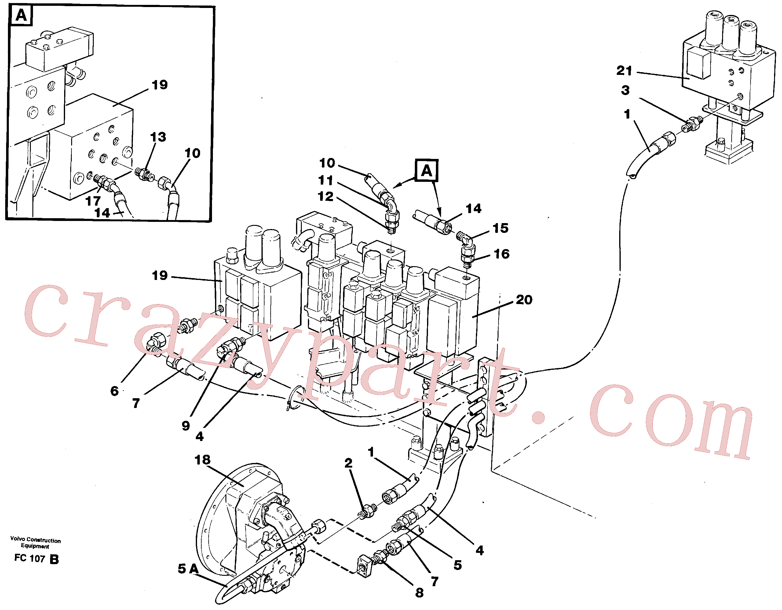 VOE14258364 for Volvo Hydraulic system, feed line(FC107B assembly)