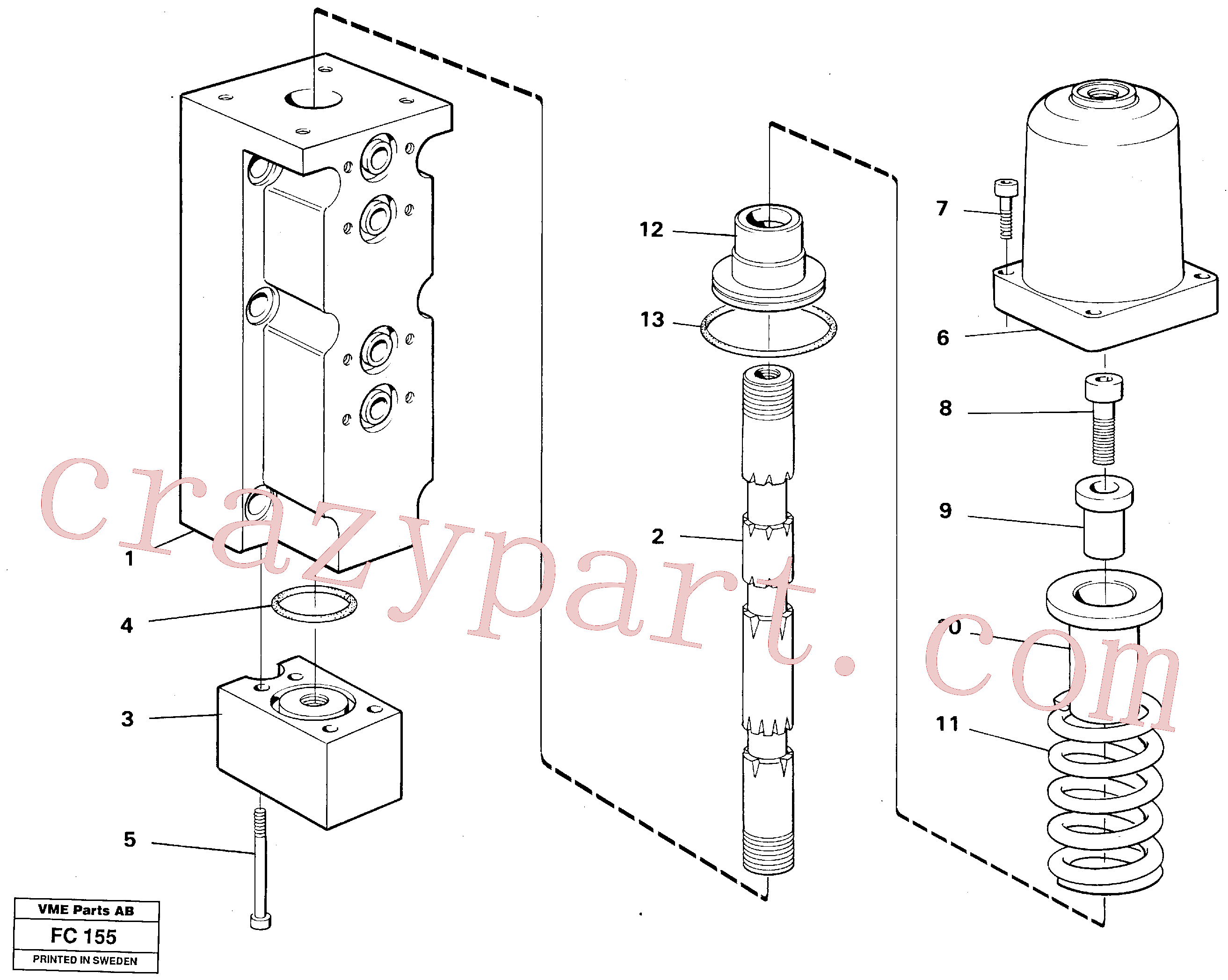 VOE14258739 for Volvo Four-way valve, slope bucket/rotating hydraulic(FC155 assembly)