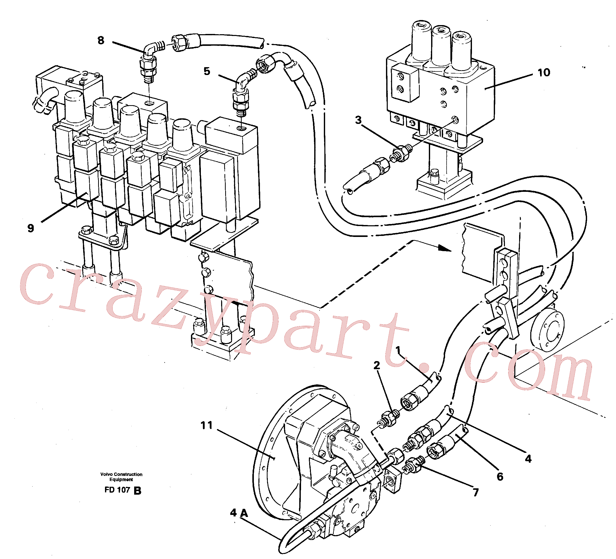 VOE14258364 for Volvo Hydraulic system, feed line(FD107B assembly)