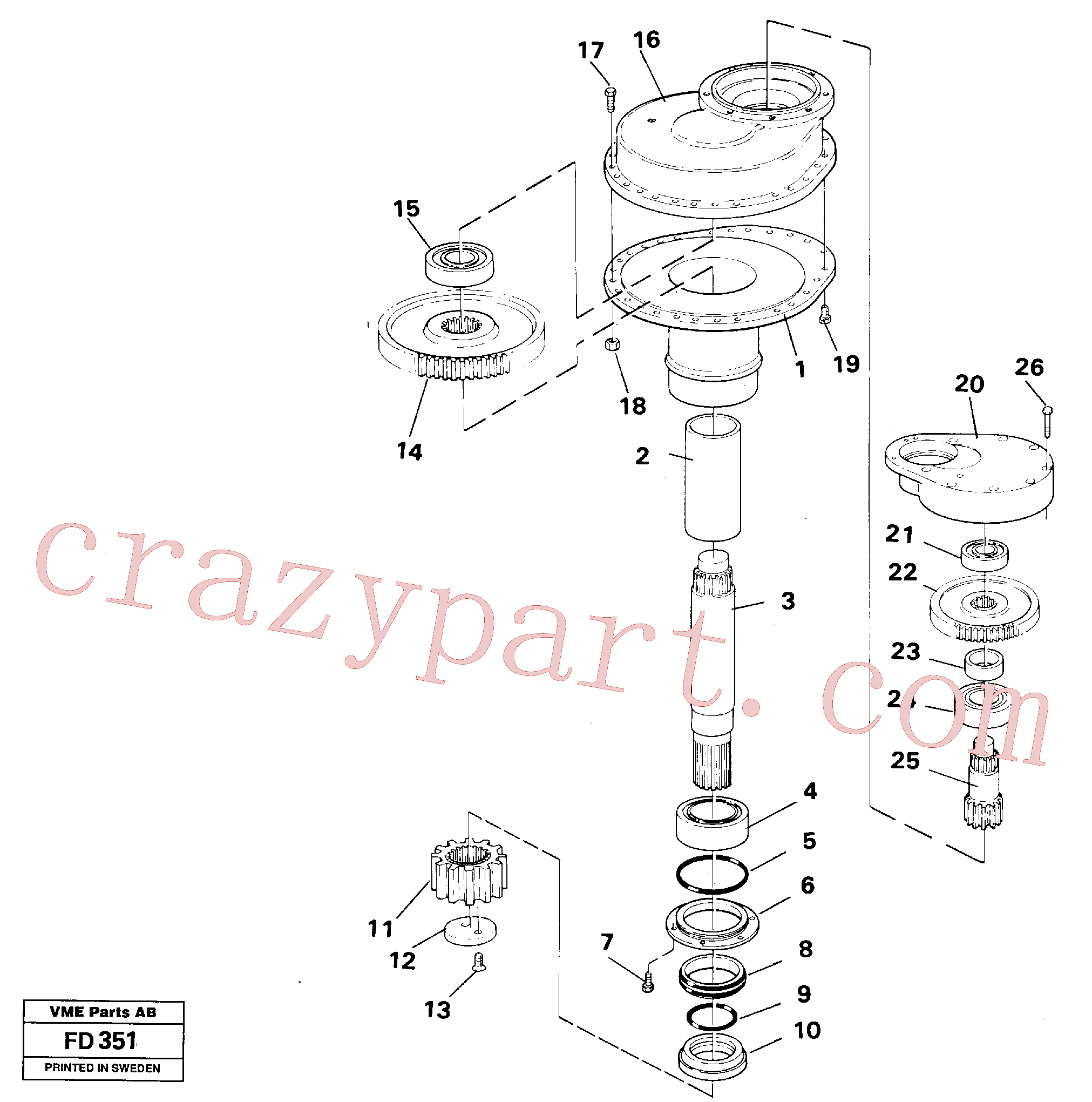VOE14048756 for Volvo Swing gearbox(FD351 assembly)