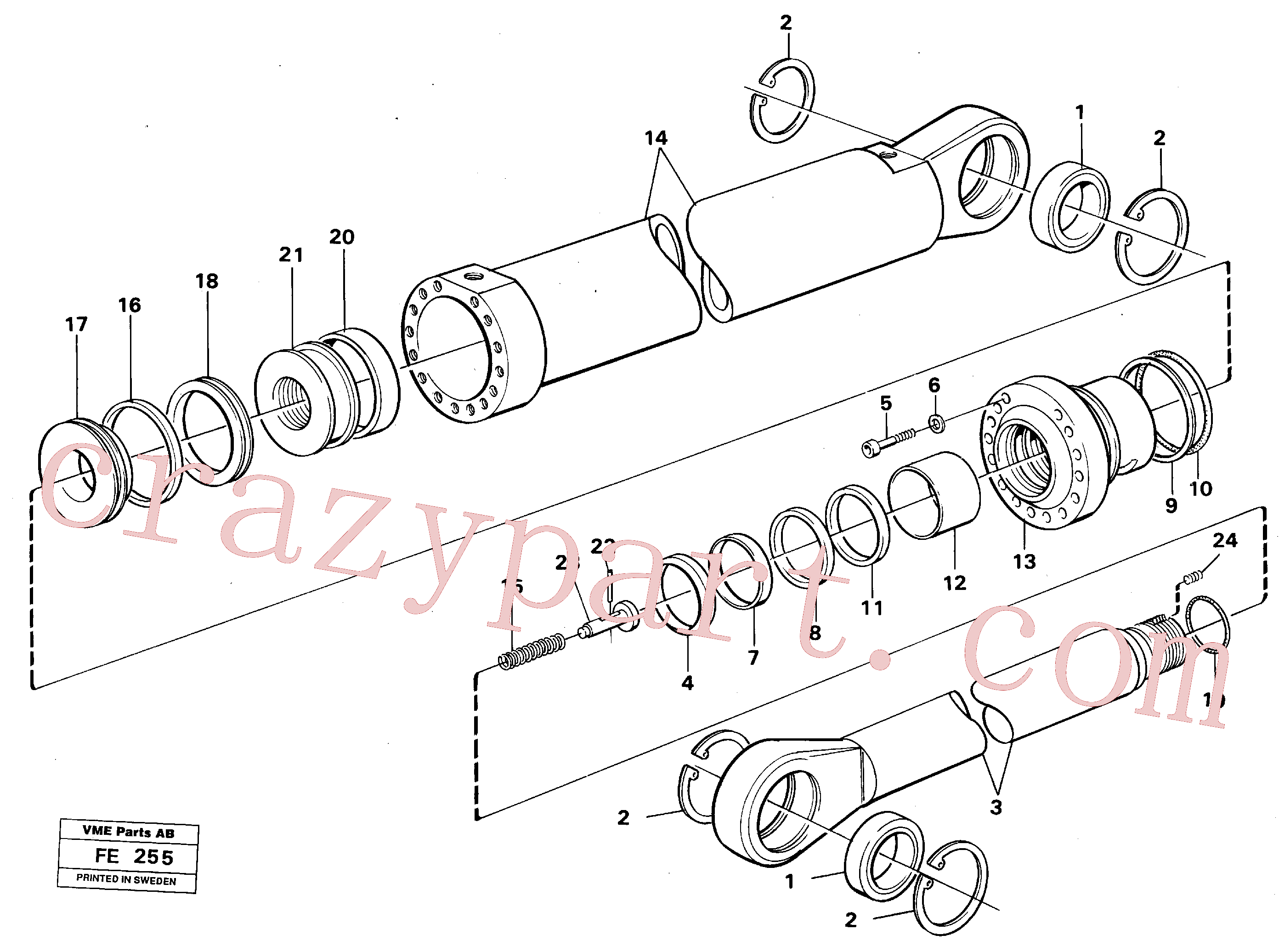 VOE14235919 for Volvo Boom- and bucket cylinder(FE255 assembly)