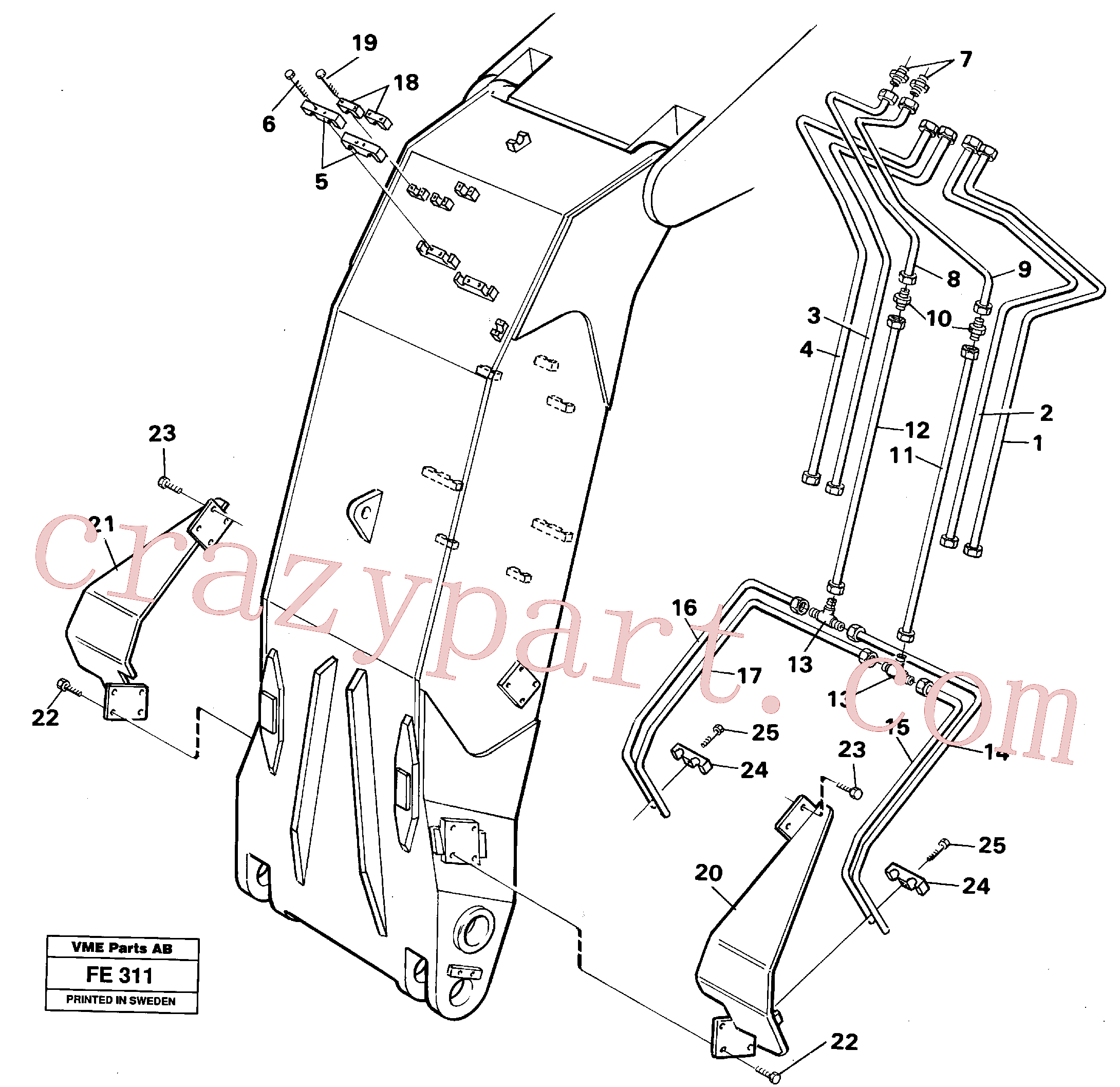 VOE14230322 for Volvo Hydraulic system, dipper arm, face shovel equipment(FE311 assembly)