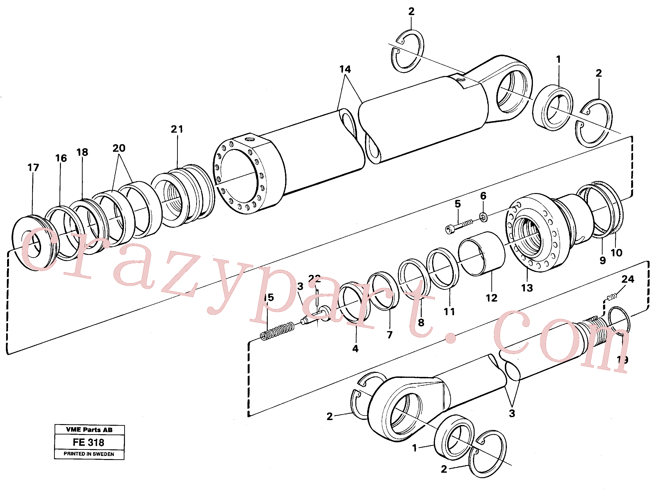 VOE14216286 for Volvo Boom and bucket cylinder, Mass Excavation(FE318 assembly)