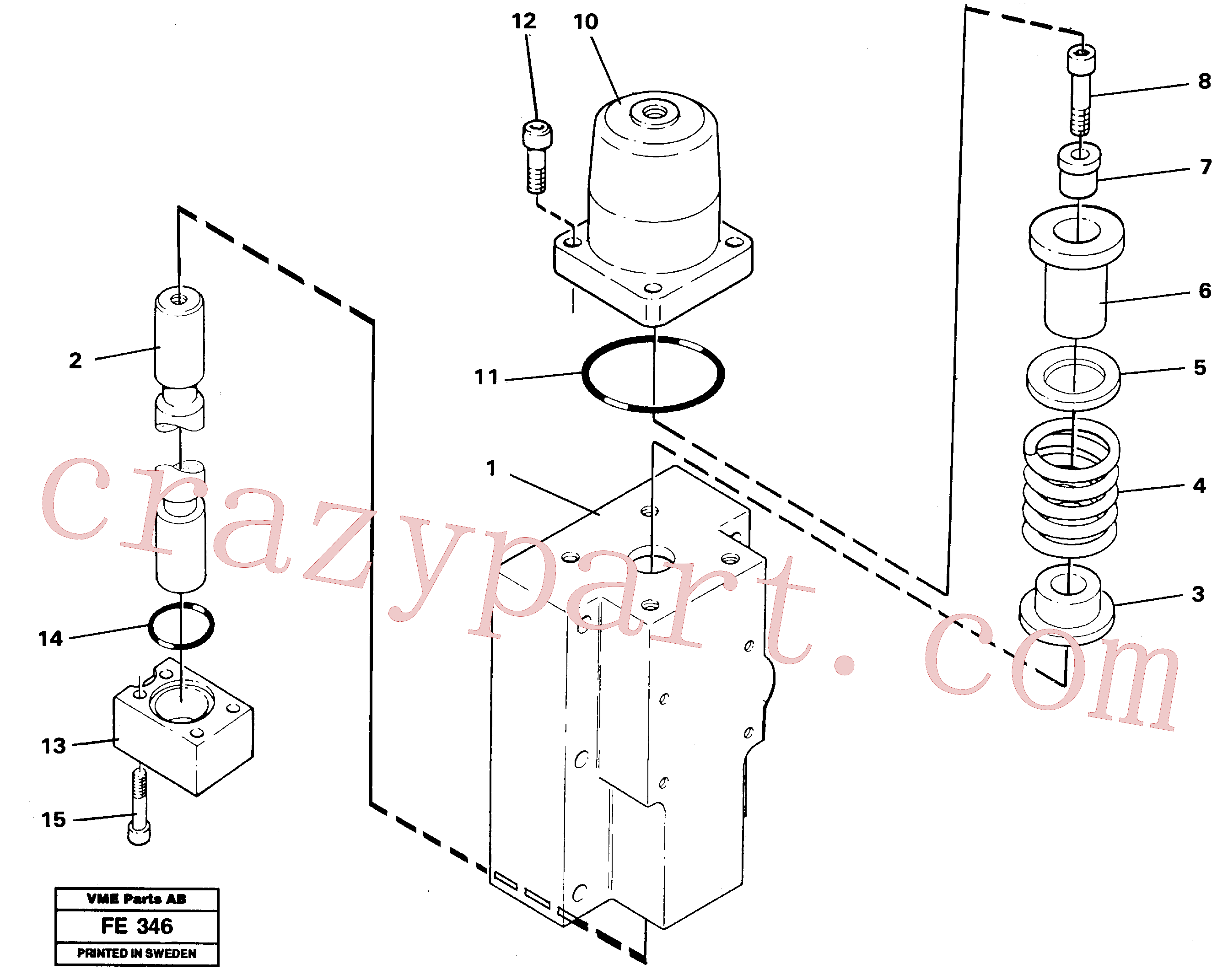 VOE14012282 for Volvo Four-way valve, rotating equipment(FE346 assembly)