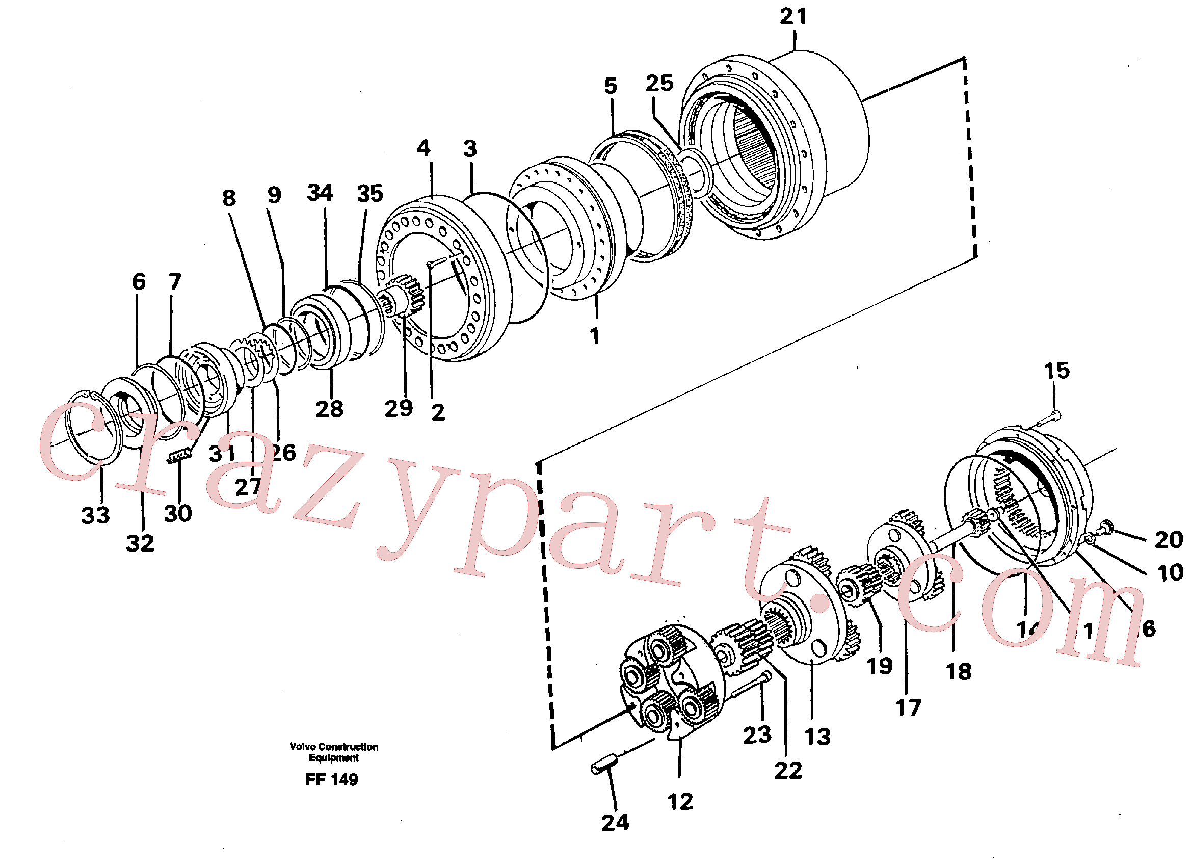 VOE14261972 for Volvo Planetary drive(FF149 assembly)