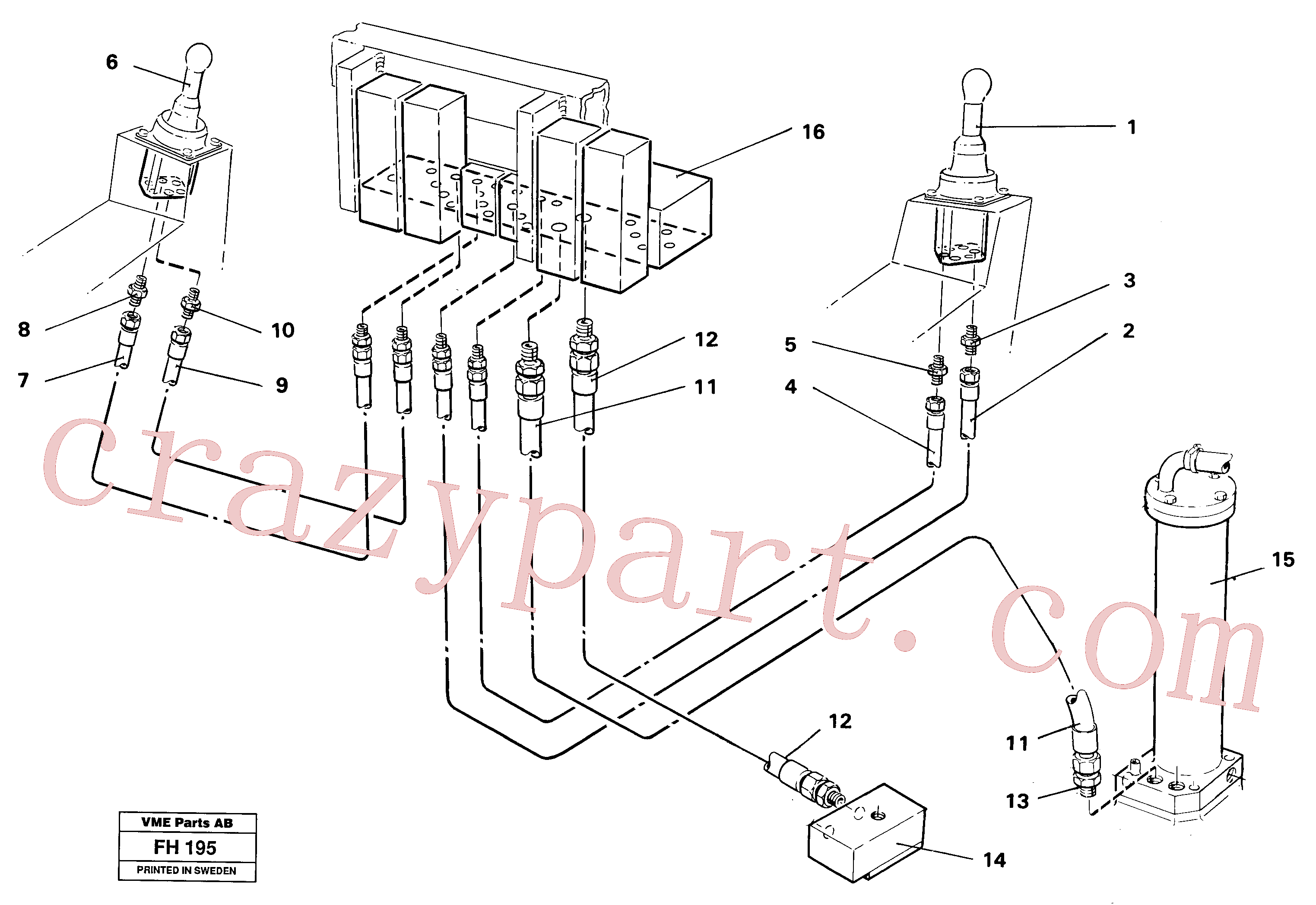 VOE14246022 for Volvo Servo hydraulics, tank return lines(FH195 assembly)