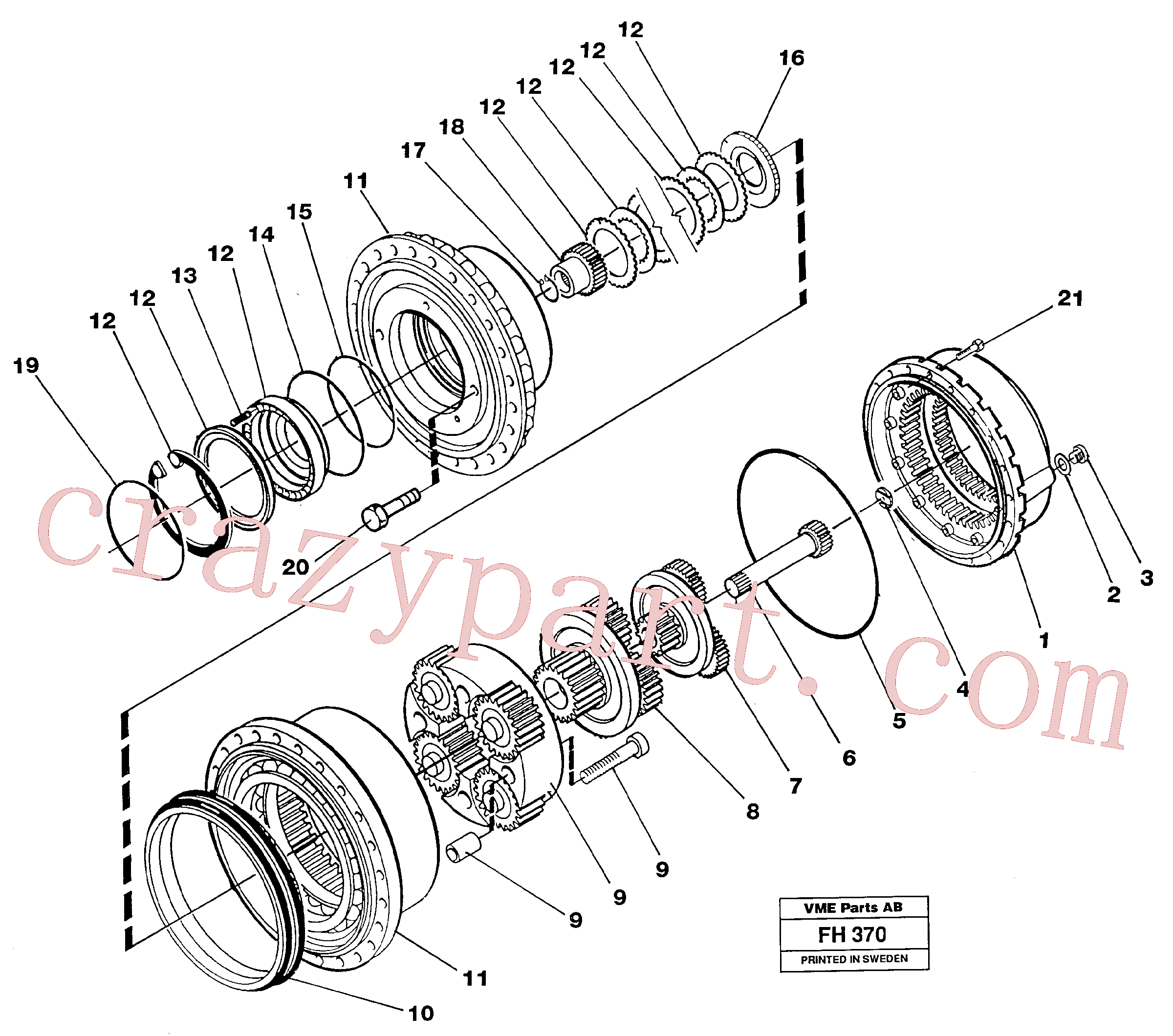 VOE11704235 for Volvo Planetary gear, travel(FH370 assembly)