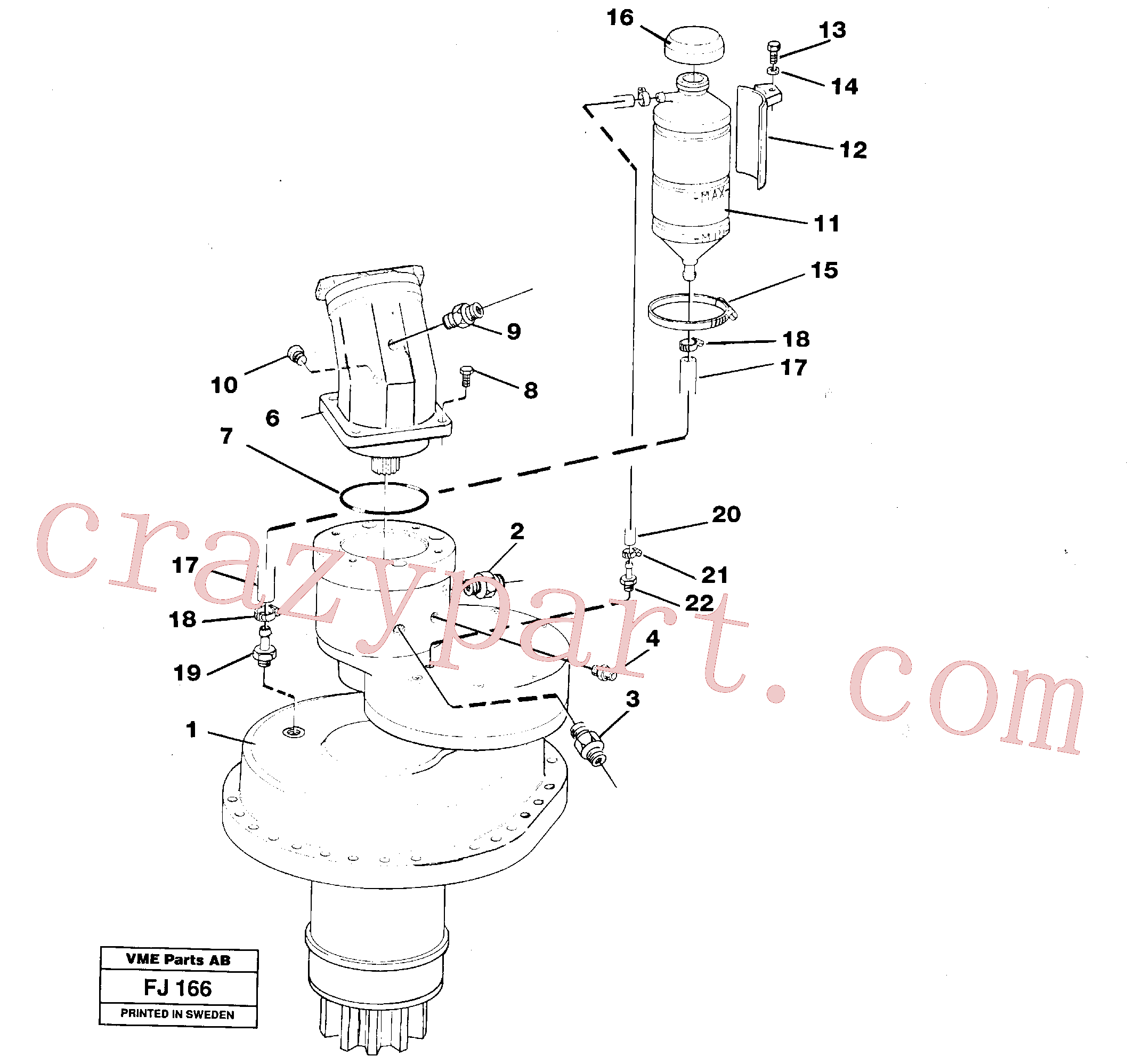 VOE14012414 for Volvo Slewing gear box, compl.(FJ166 assembly)