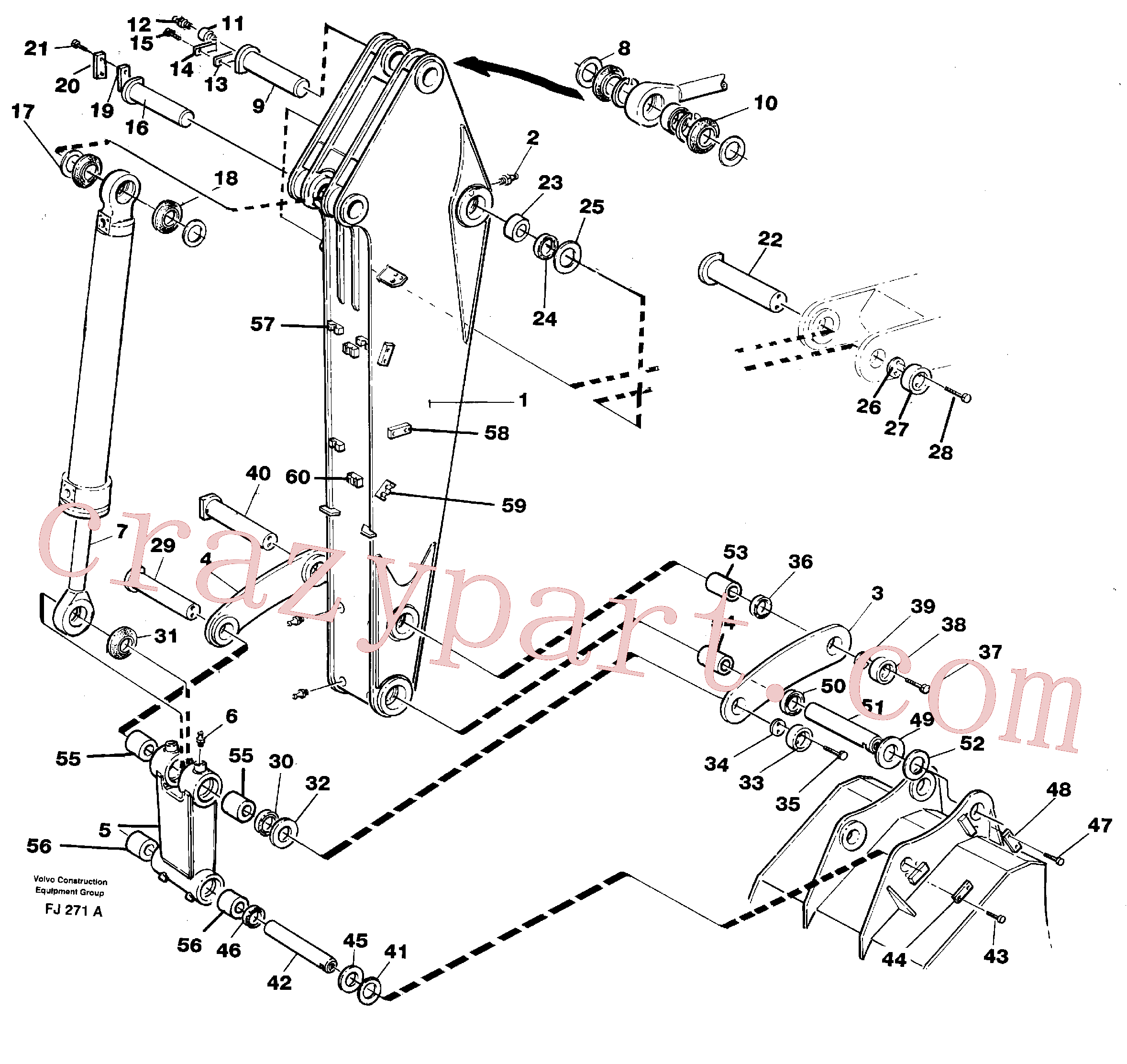 VOE14099893 for Volvo Backhoe dipper arm 2.0m(FJ271A assembly)
